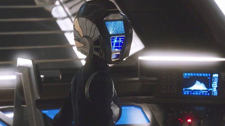 Lt. Jira Arwani with a tactical helmet (episode 1).