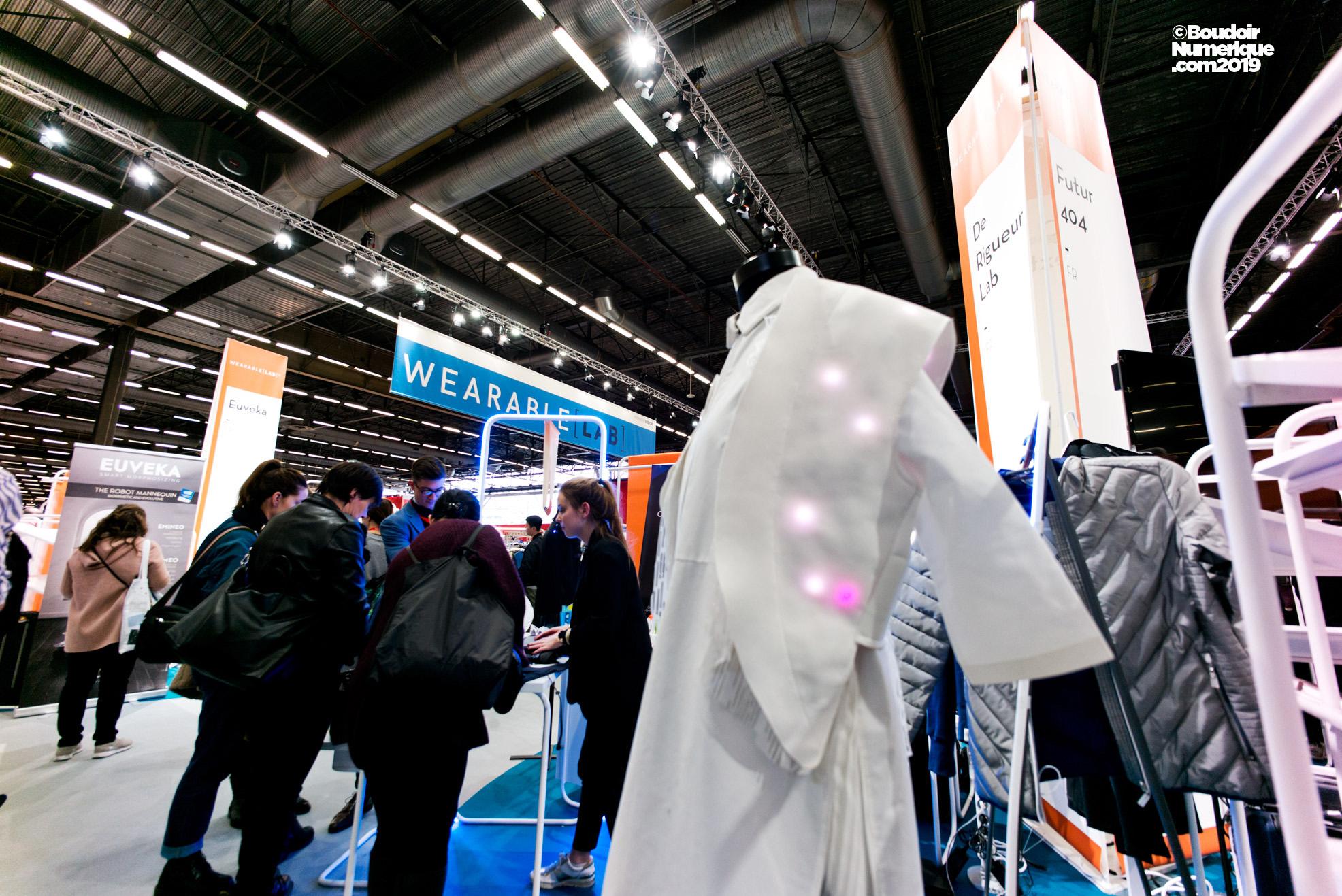 L'espace Wearable Lab de Première Vision Paris, le 12 février 2019, à Villepinte. A l'avant-plan, le stand De Rigueur Lab.
