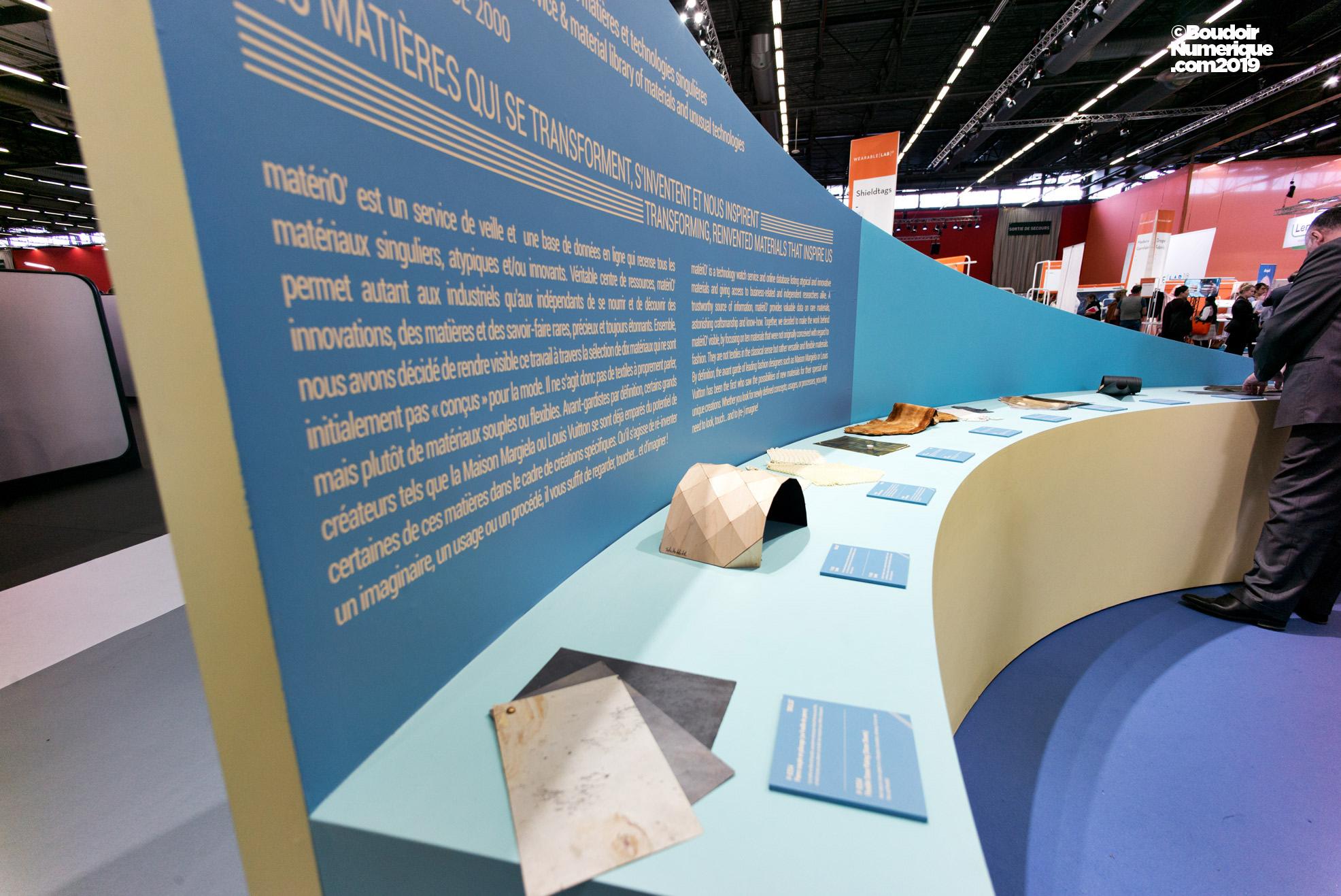 L'exposition Skills² proposait également une matériauthèque dévoilant une sélection de matériaux prospectifs.