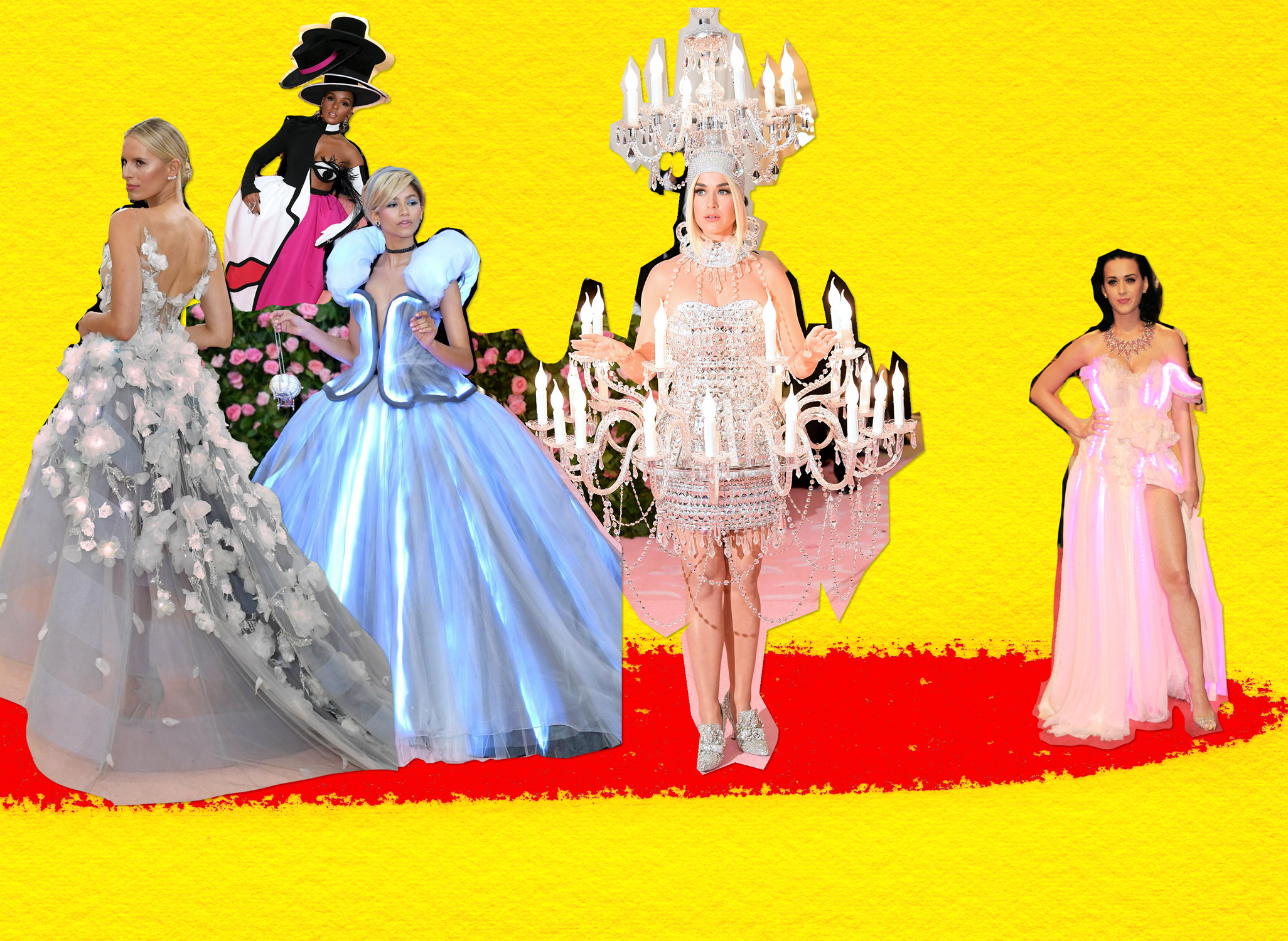 De gauche à droite, Karolina Kurkova (Met Gala 2016), Janelle Monáe, Zendaya Coleman et Katy Perry (Met Gala 2019) et Katy Perry (Met Gala 2010)