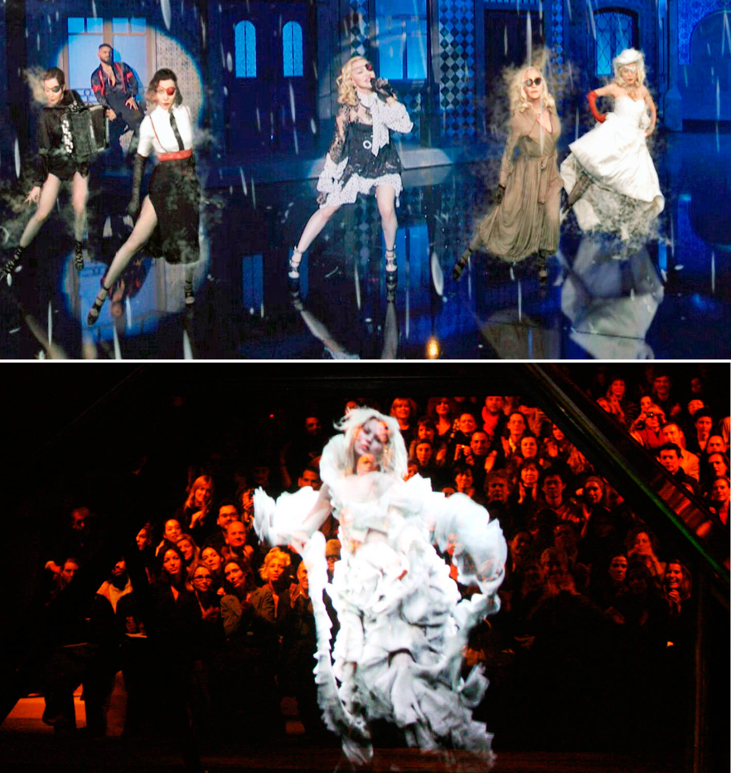En haut, Madonna, aux Billboard Music Awards, le 1er mai 2019, à Las Vega et en bas, Kate Moss, le 3 mars 2006, en final de la collection The Widows of Culloden d'Alexander McQueen, à Paris