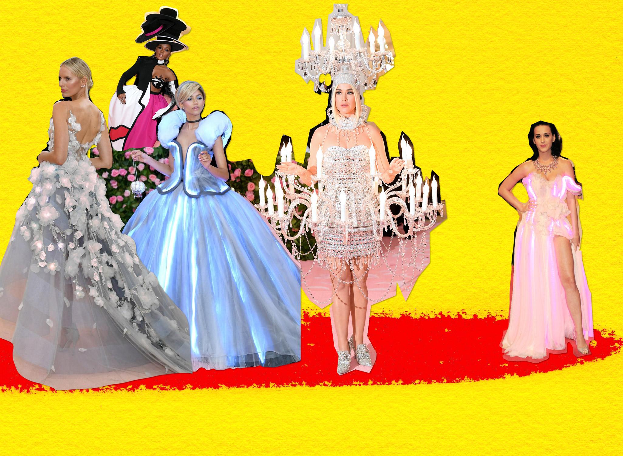 From left to right, Karolina Kurkova (Met Gala 2016), Janelle Monáe, Zendaya Coleman and Katy Perry (Met Gala 2019) and Katy Perry (Met Gala 2010)