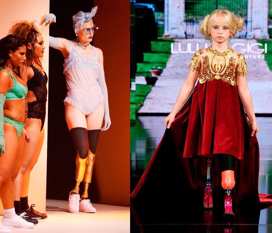 A gauche, le mannequin Lauren Wasser, au défilé Savage X Fenty by Rihanna, le 10 septembre, à NY et à droite, la fillette de 9 ans Daisy-May Demetre, lors du défilé Lulu and Gigi Couture, le 9 septembre 2019, à NY