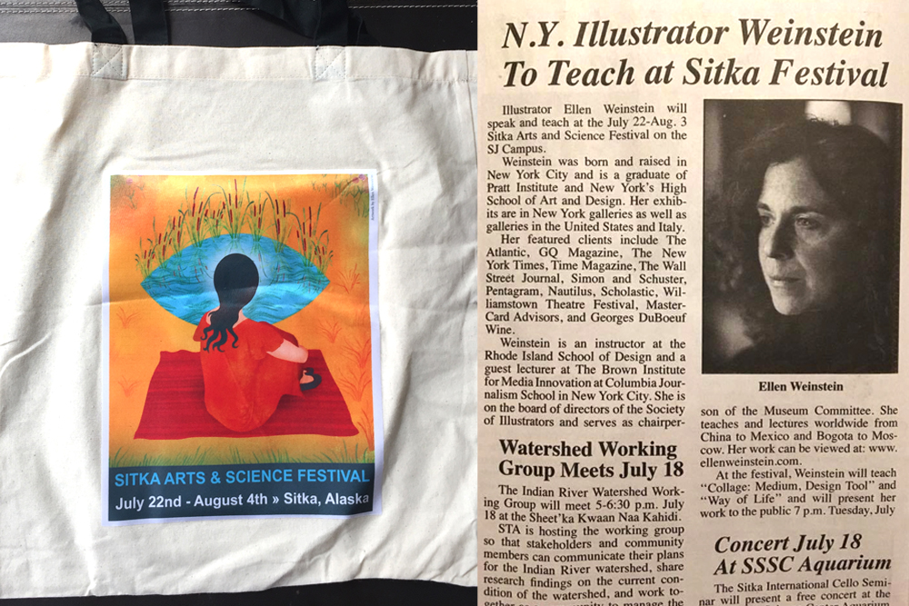 Some press from the event: the tote bag for the festival and an article from the local paper.