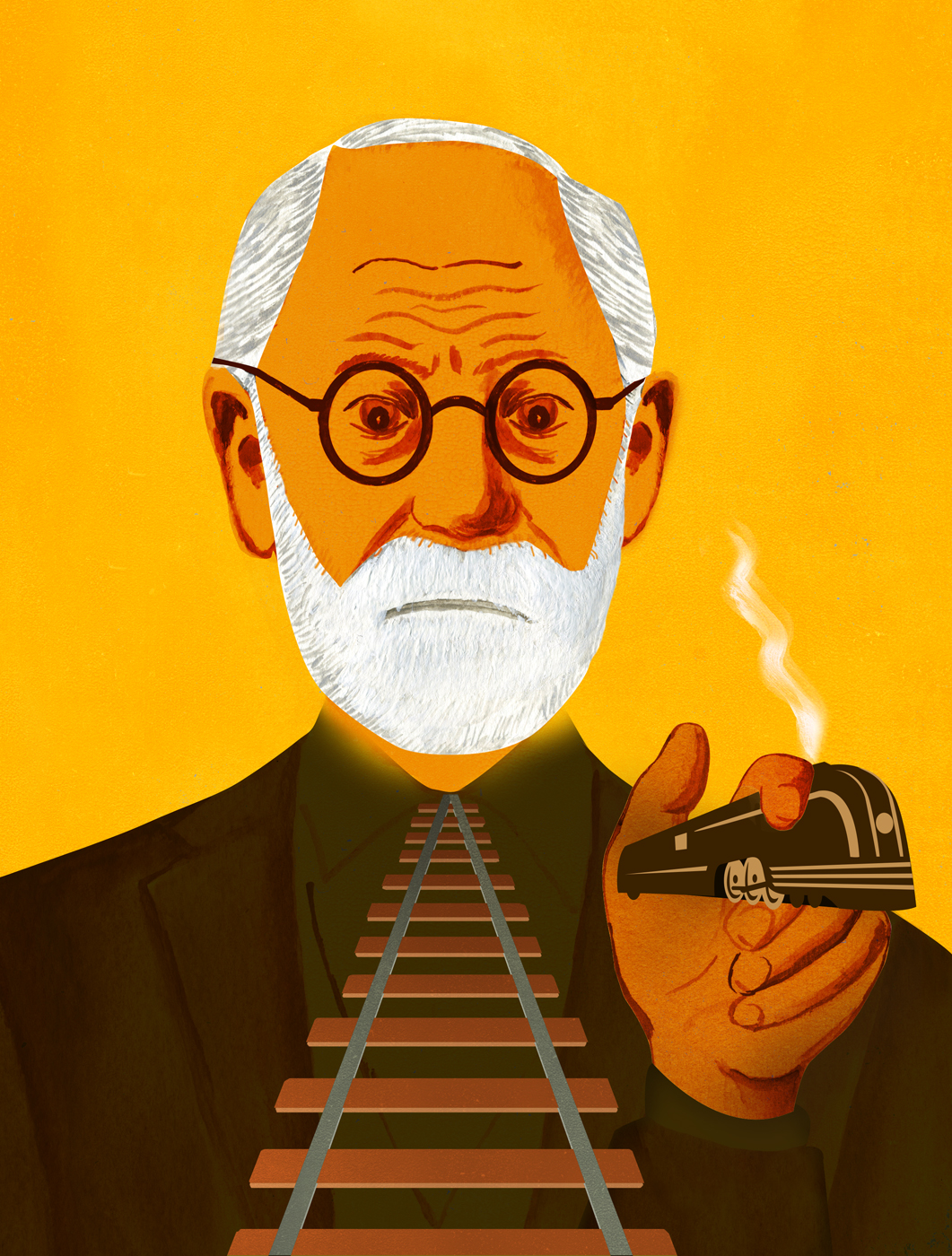 Sigmund Freud's fear of Train travel from Recipes for Good Luck: The Superstitions, Rituals, and Practices of Extraordinary People published by Chronicle Books