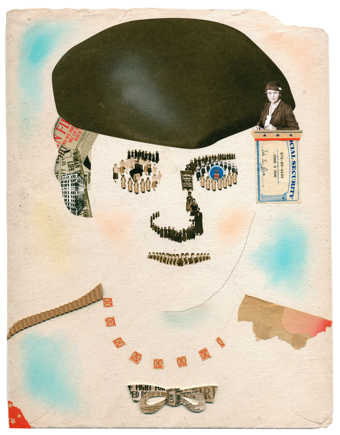 Francis Perkins, Architect of Social Security. Collage on paper for an exhibition.