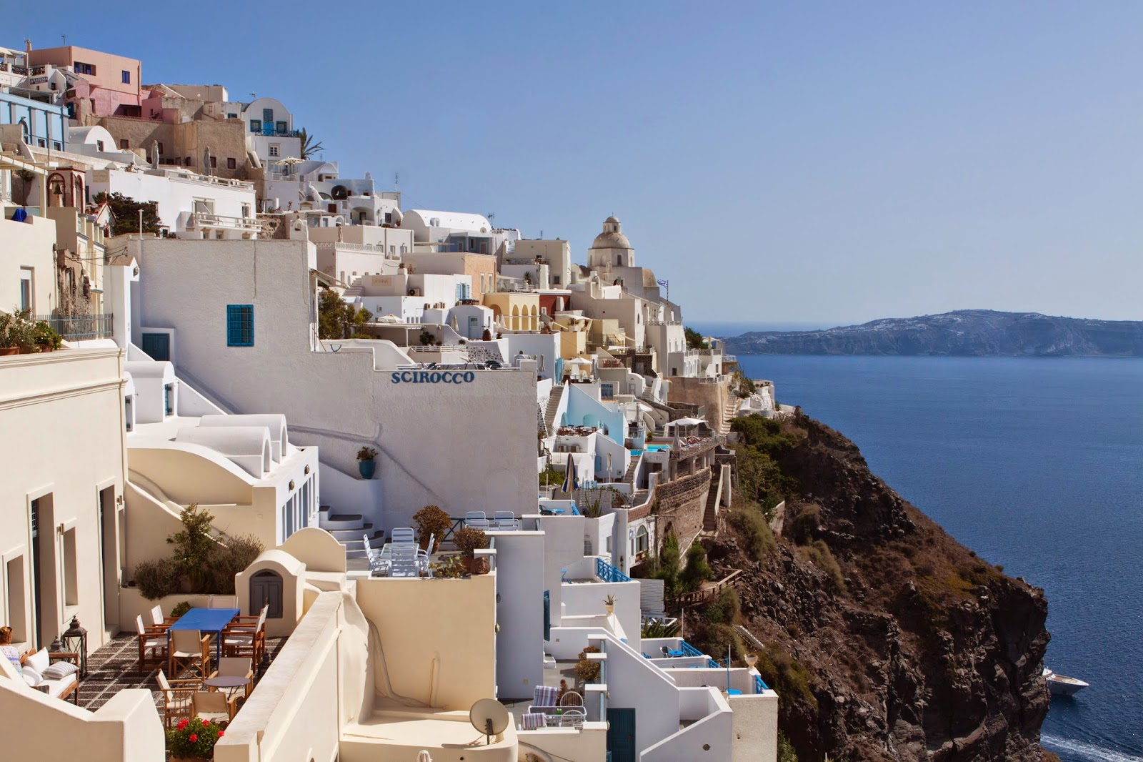 (view from our hotel in Santorini)