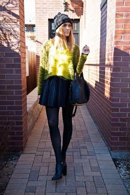(hat: Aritzia sweater: Alexander Wang skirt: LF booties: Elizabeth and James bag: Alexander Wang)