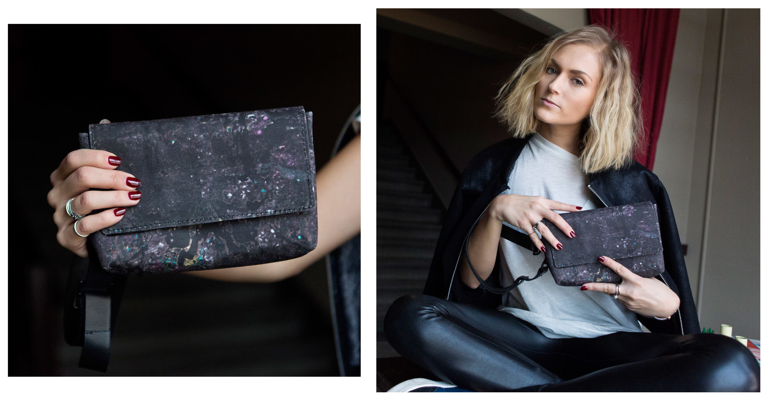 Convertible Belt Bag/ Wristlet Wallet in Skull Floral (top) and Gray Galaxy (bottom) $240