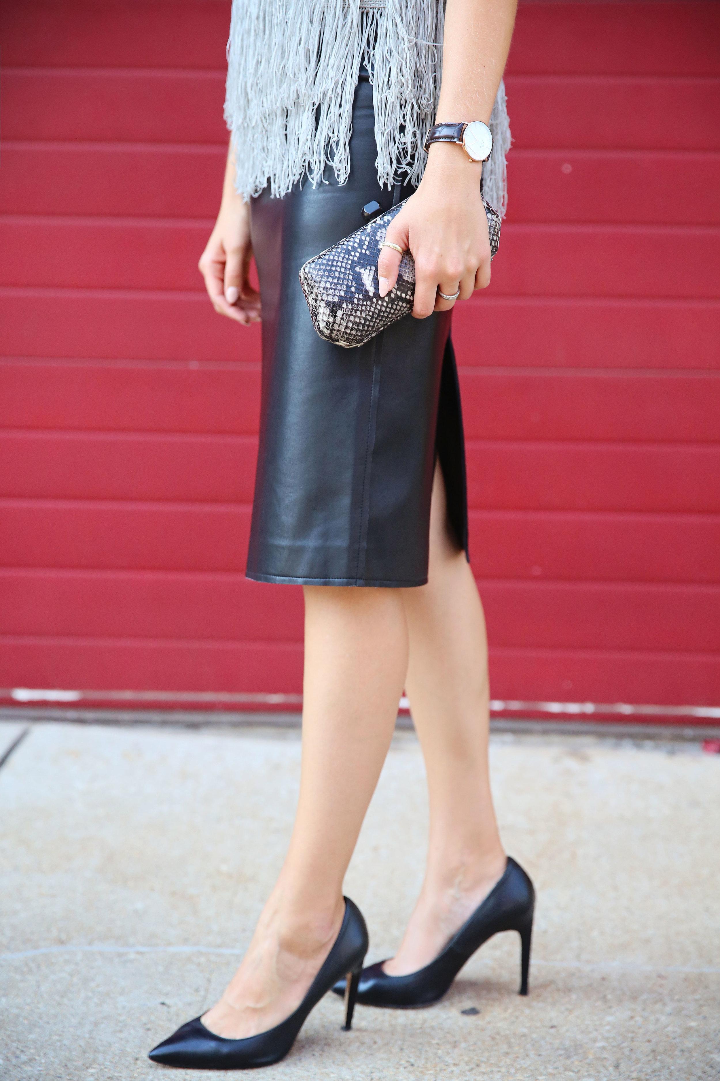 leather skirt detail