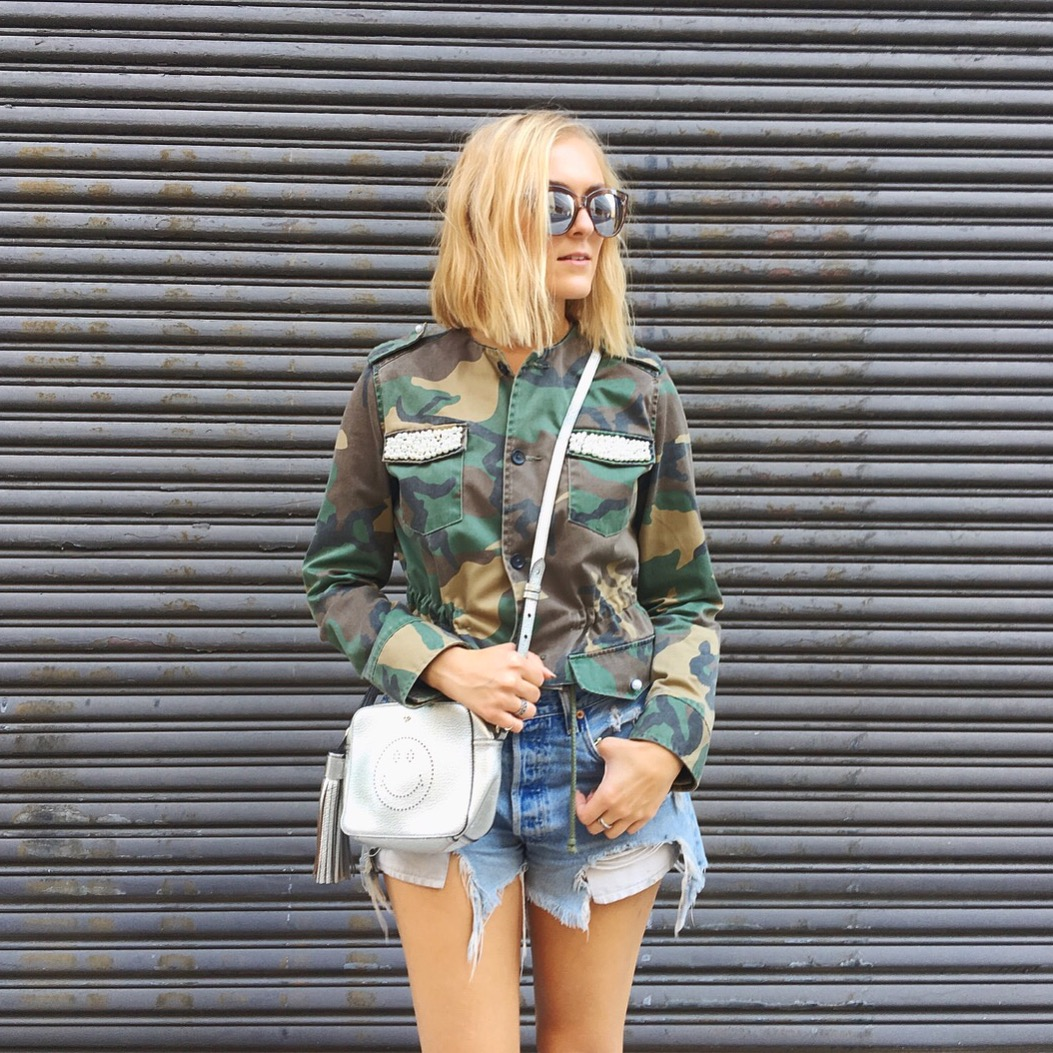 Jacket: DIY (Similar:  HERE ) Shorts:  Levis  Bag:  Anya Hindmarch  c/o  Rent The Runway  Sunglasses:  Le Specs