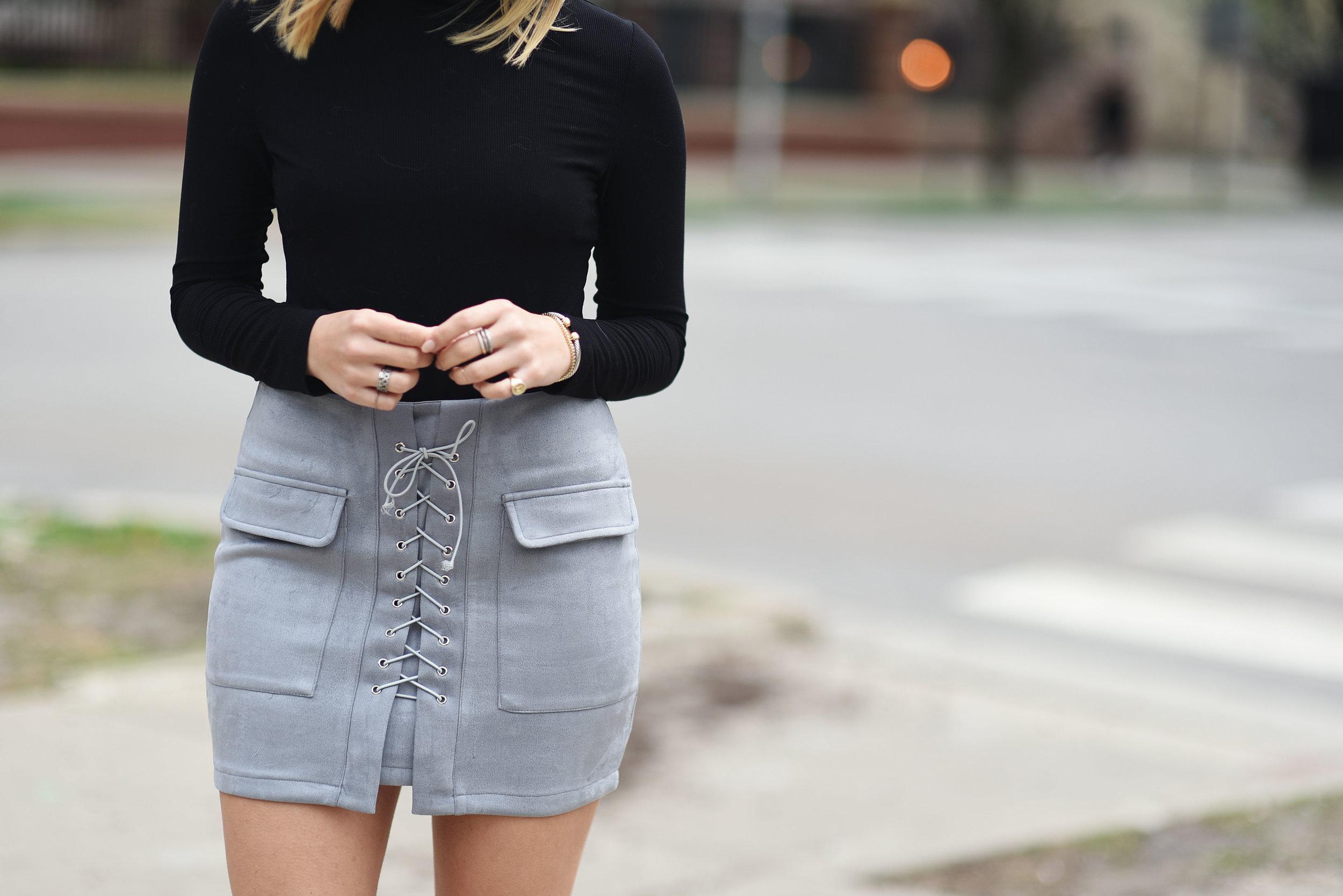 grey-lace-up-mini-skirt