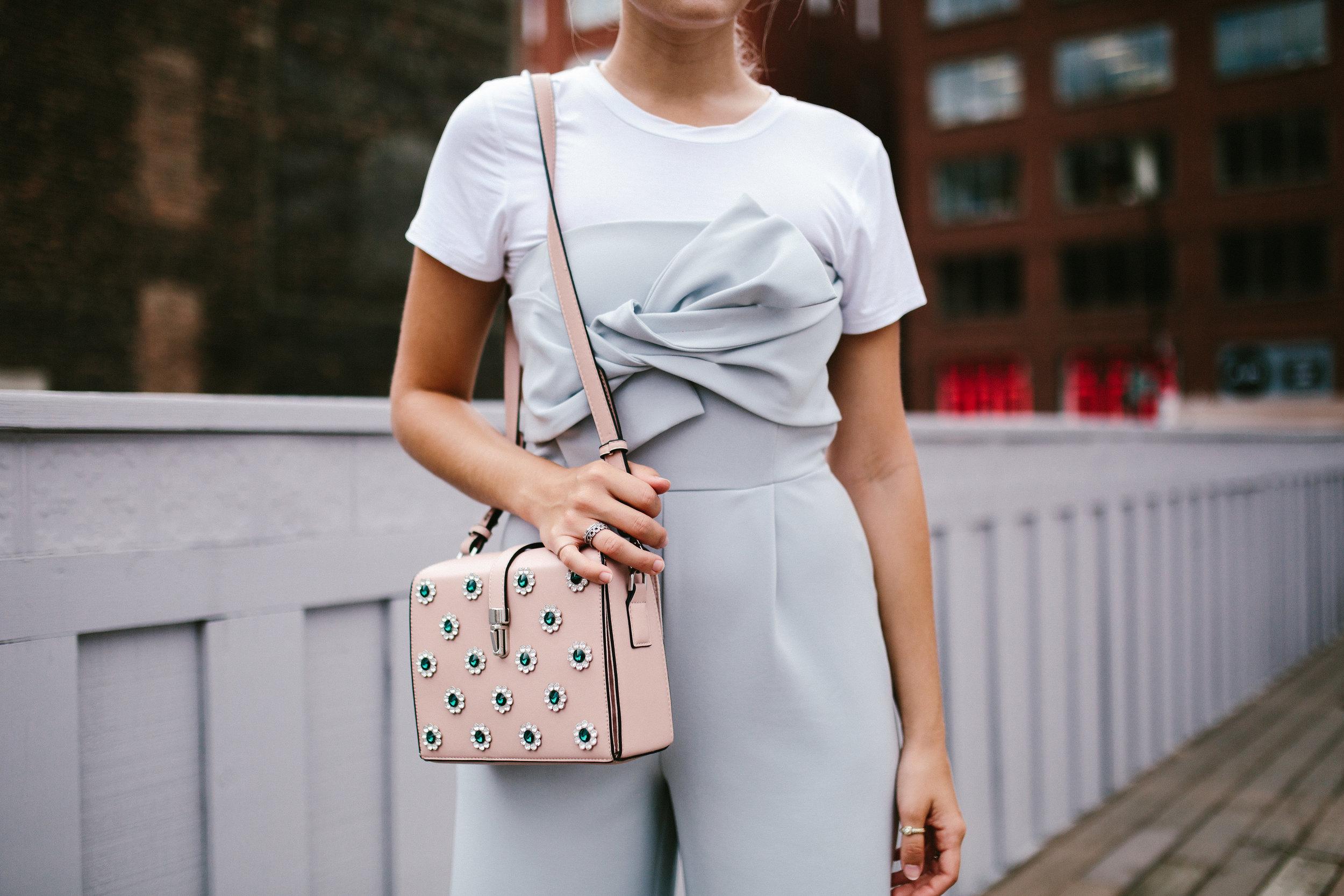 detail bow jumpsuit embellished bag