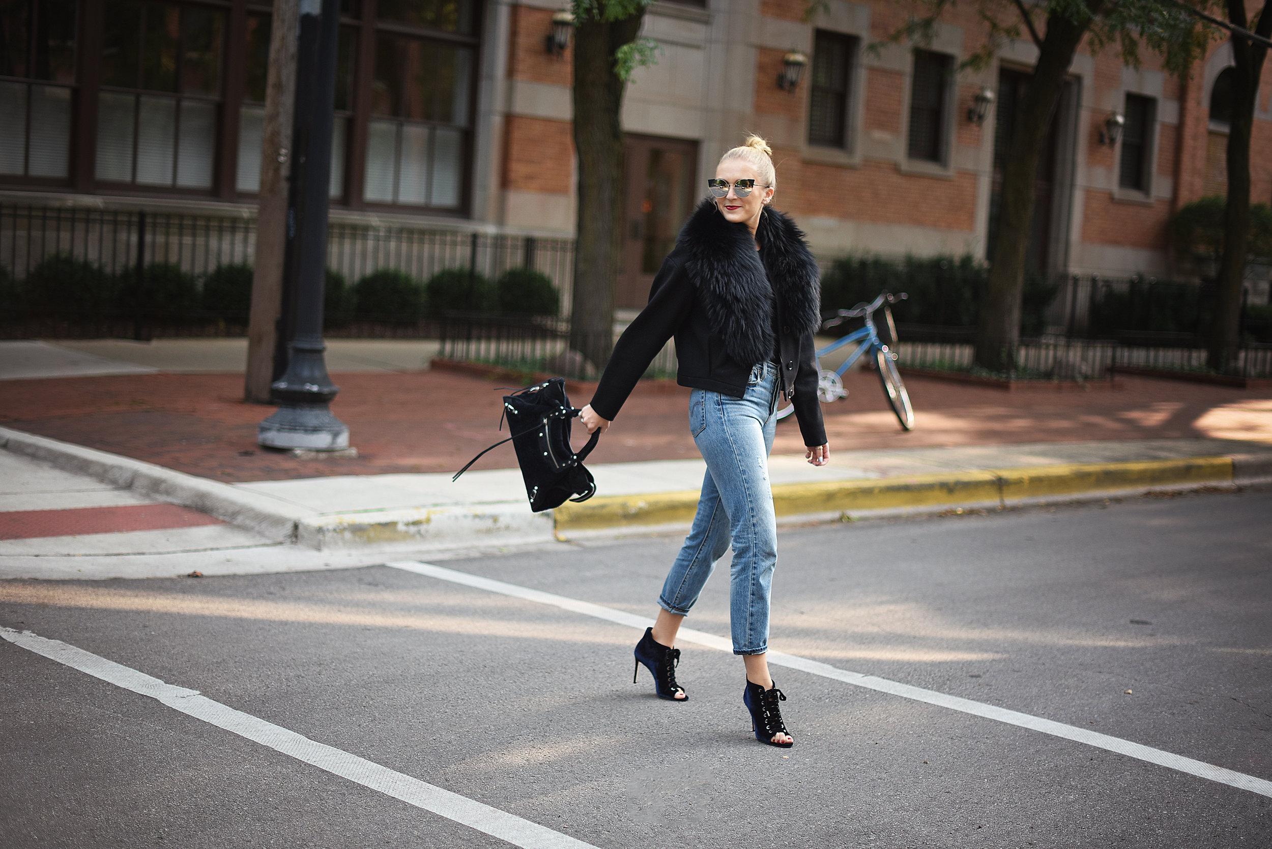 black jacket girl walking