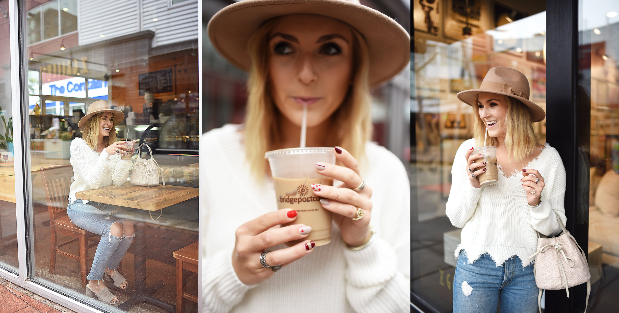 blonde girl drinking iced coffee