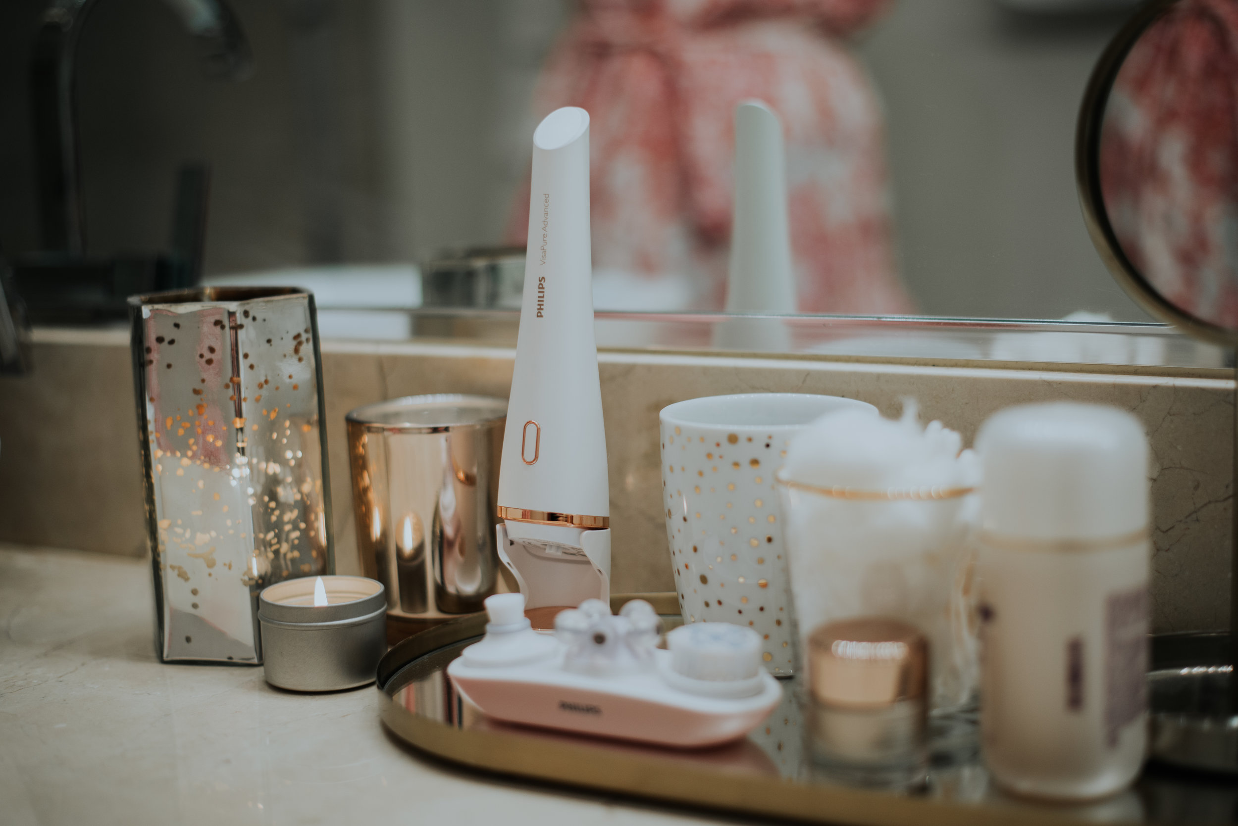 skin care products on countertop
