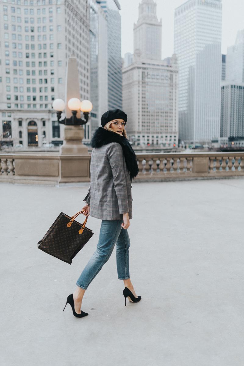 girl walking chicago blazer stilletos vintage louis vuitton