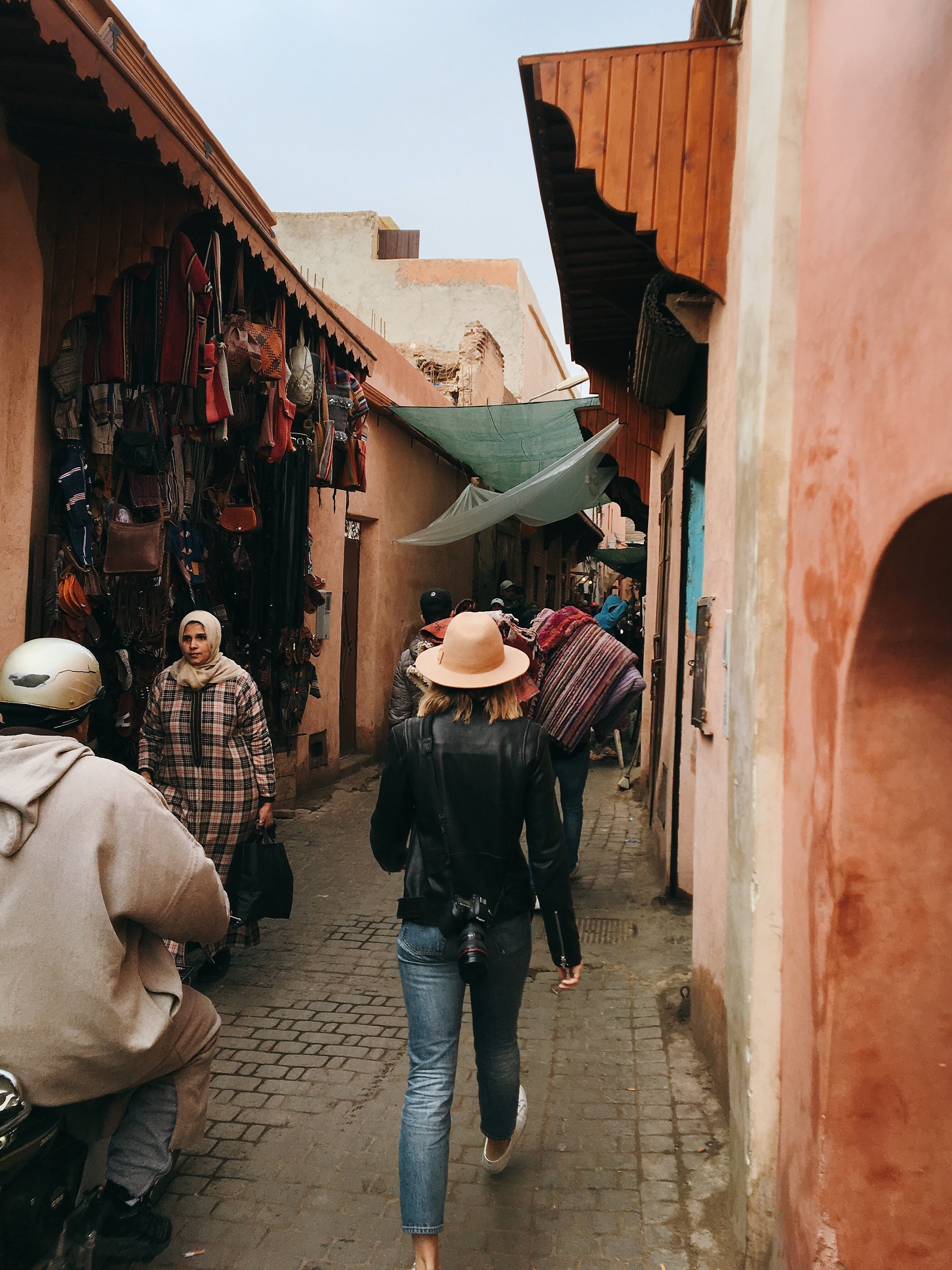 Traveling Morocco Streets Spices Market Girl Black Leather Jacket