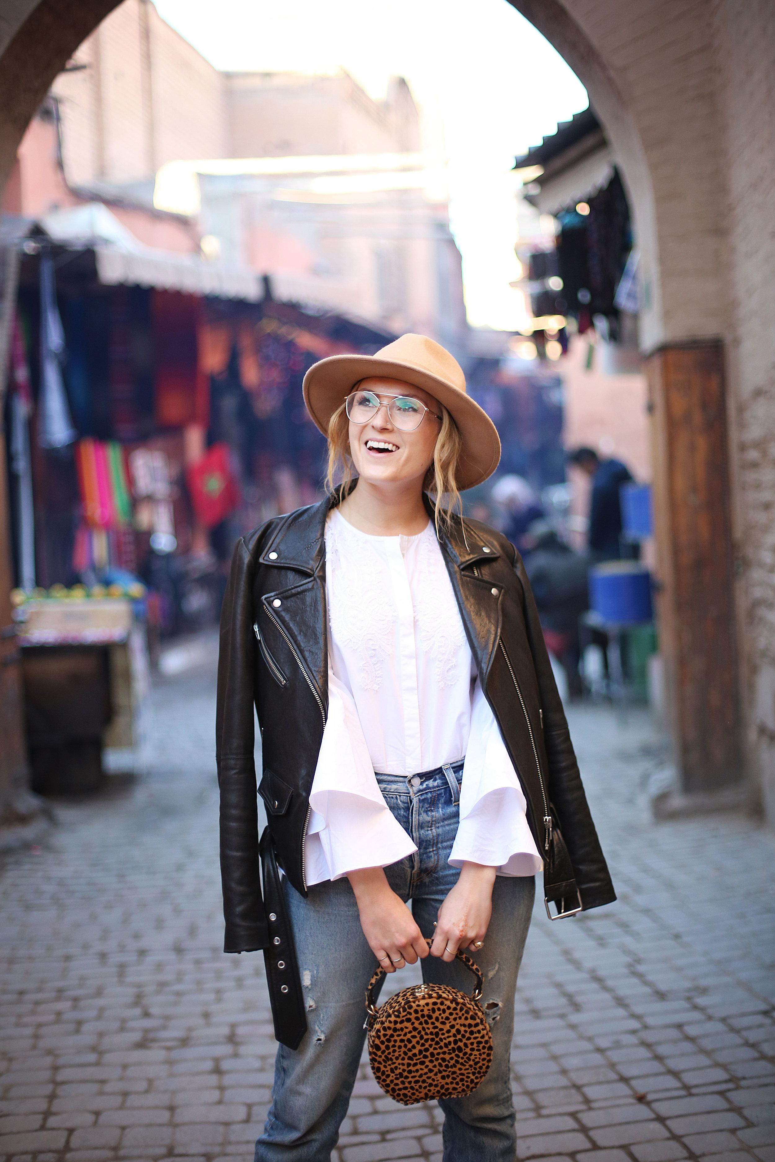 Jacket:  Veda , Blouse:  Kobi Halperin , Jeans:  Levi's , Clutch:  Anthropologie , Glasses:  Zyloware , Hat:  Alice and Wonder