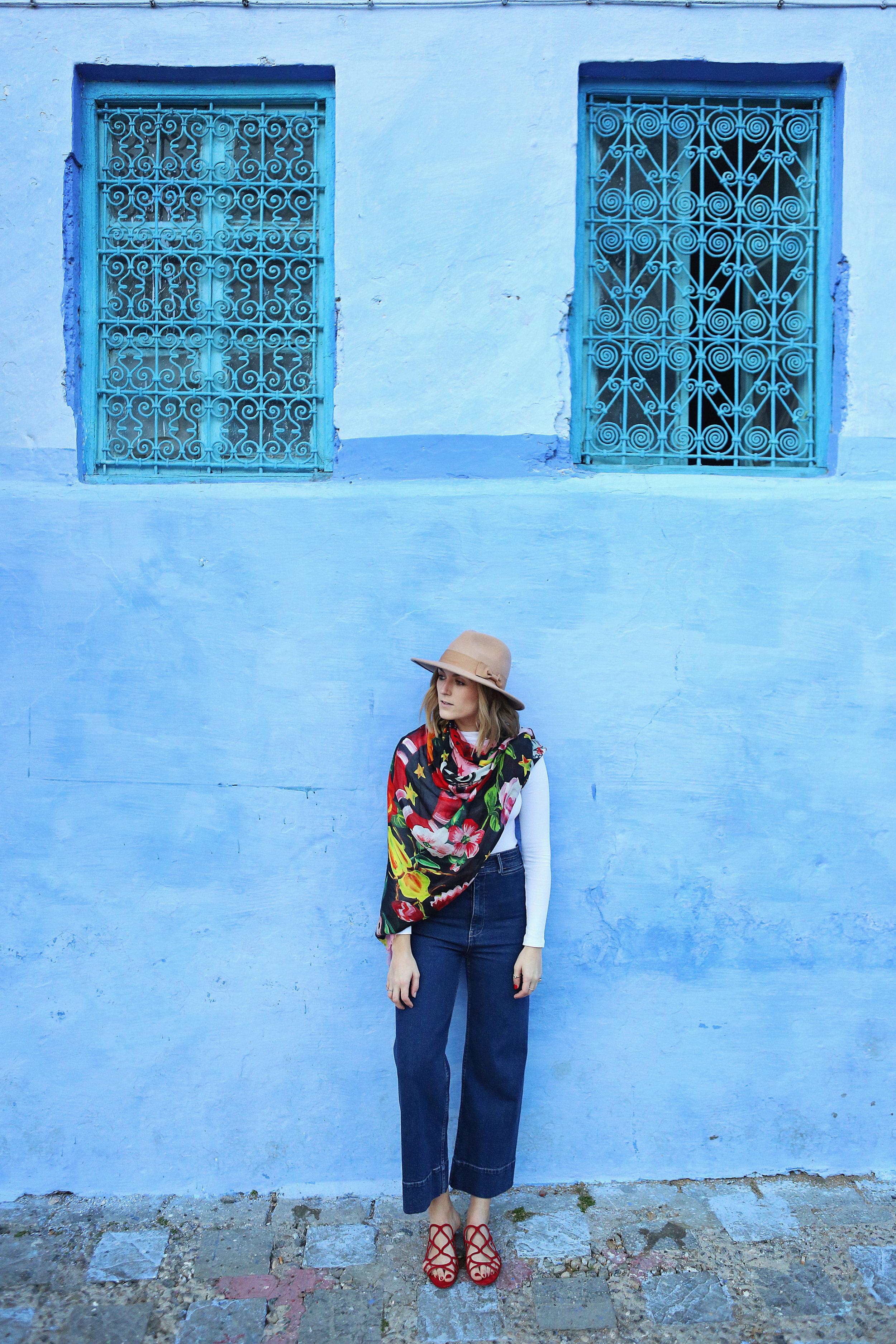 Jeans:  Apiece Apart , Bodysuit:  ASOS , Scarf:  Gucci , Shoes:  Schutz , Hat:  Alice and Wonder