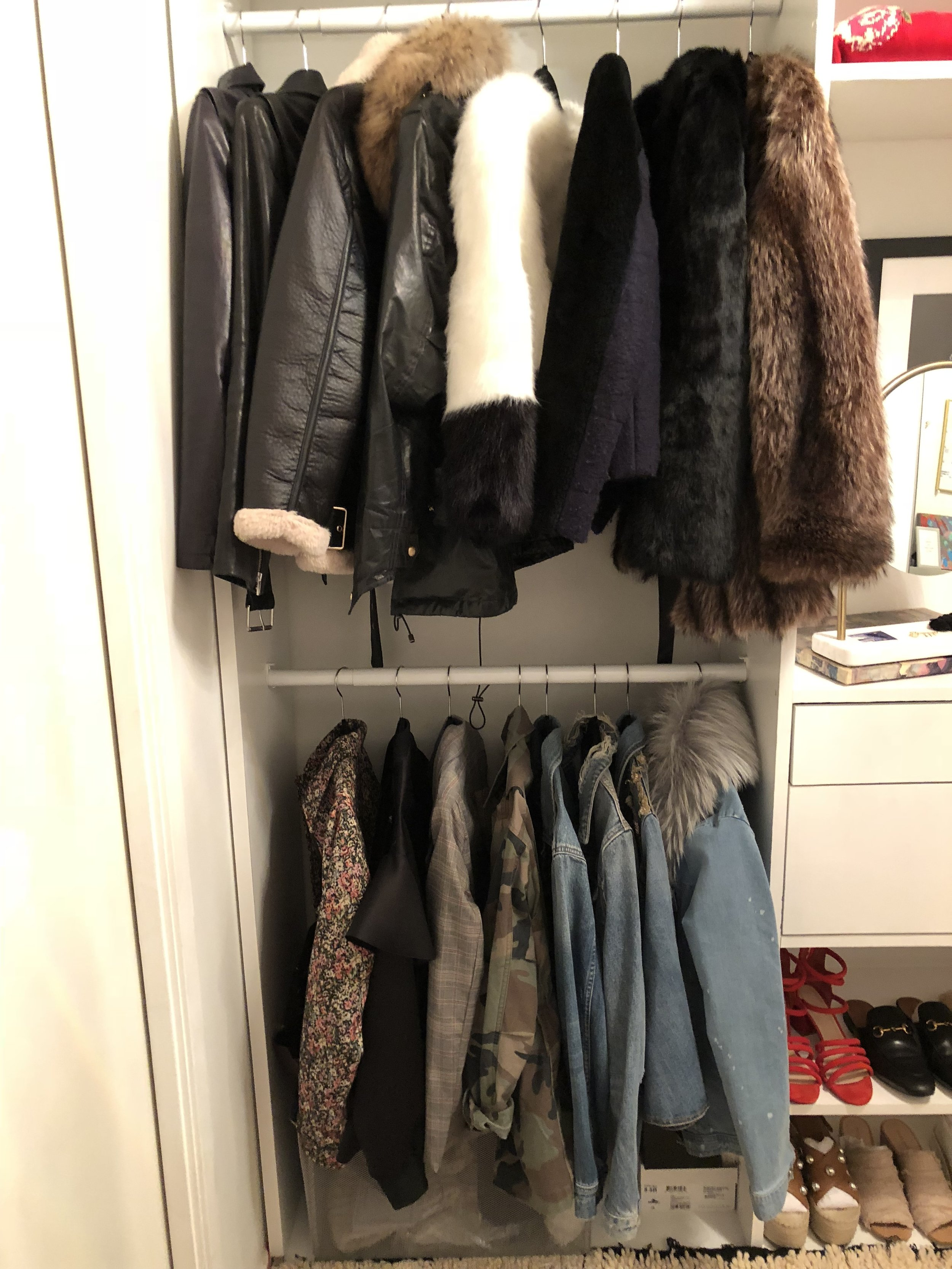 jackets in closet