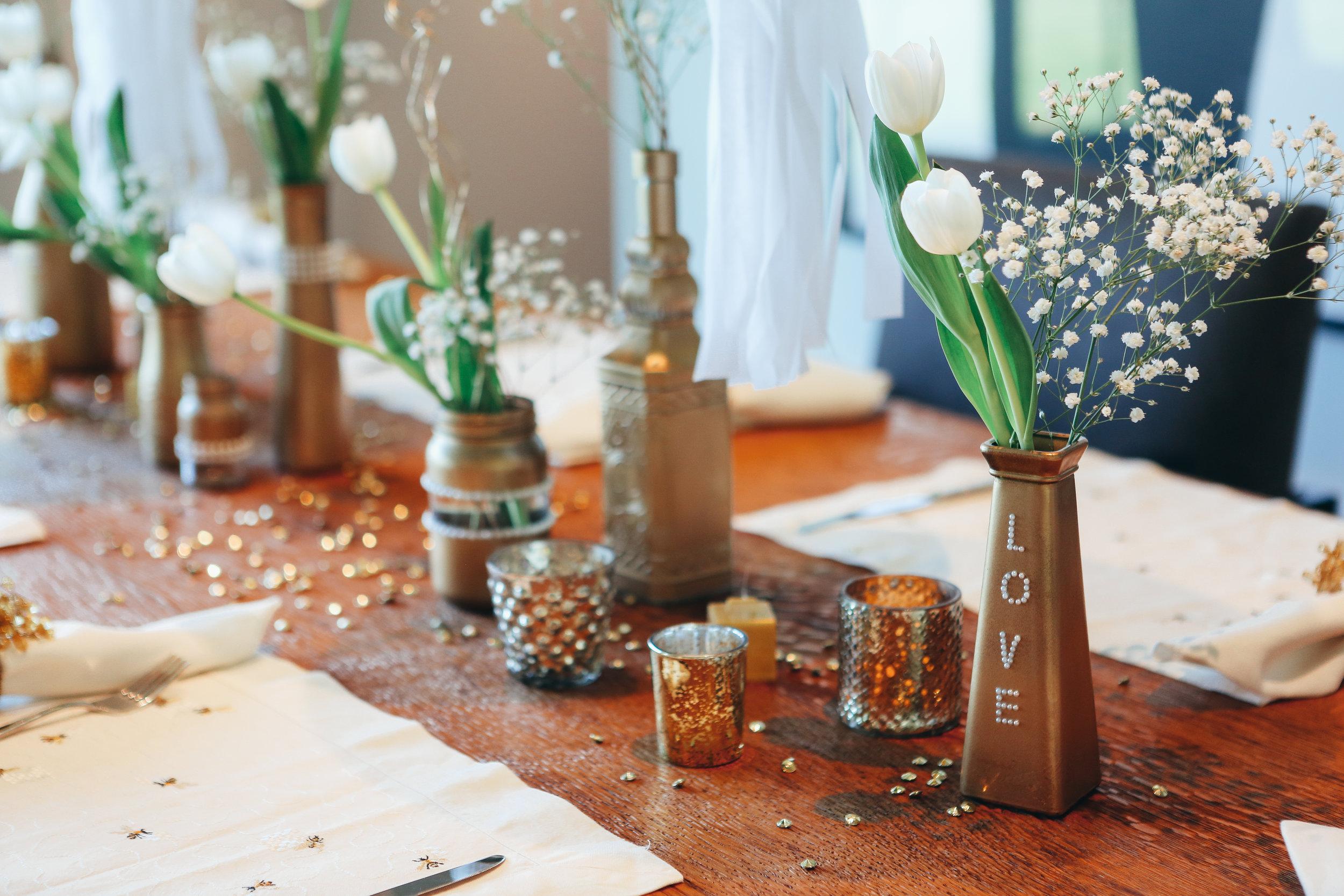 bridal shower vases and decor