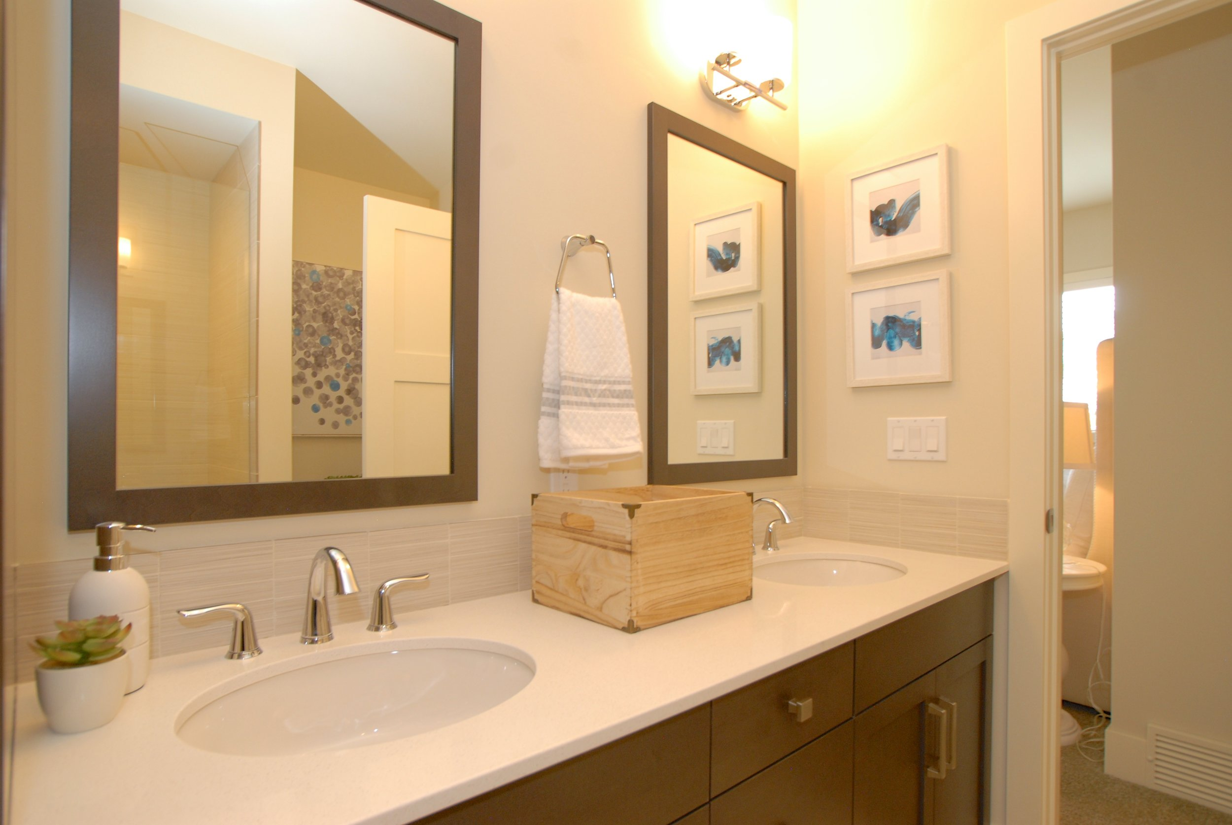 Stylish wood frame vanity mirrors