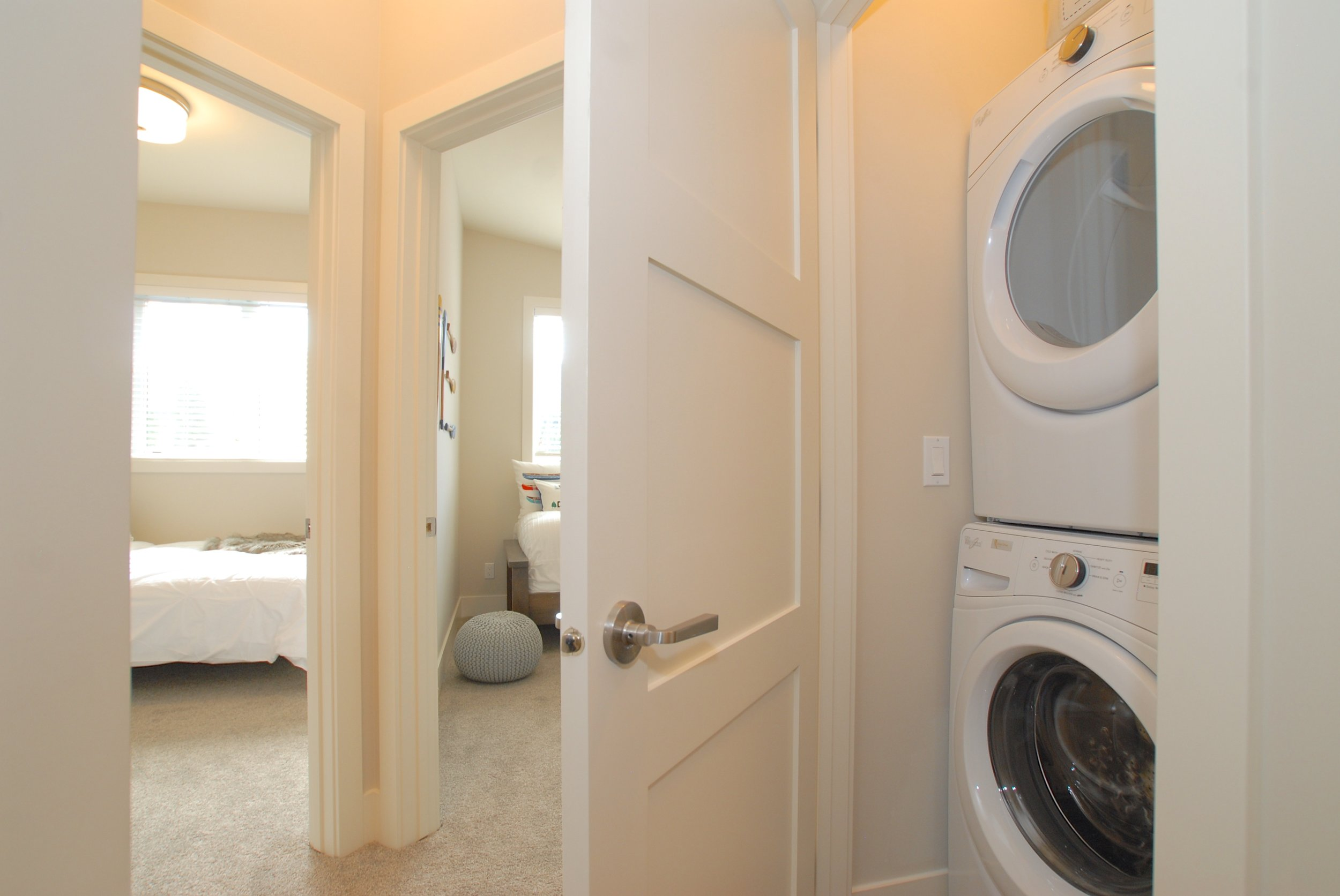 Stacked washer/dryer on 3rd floor for easy access