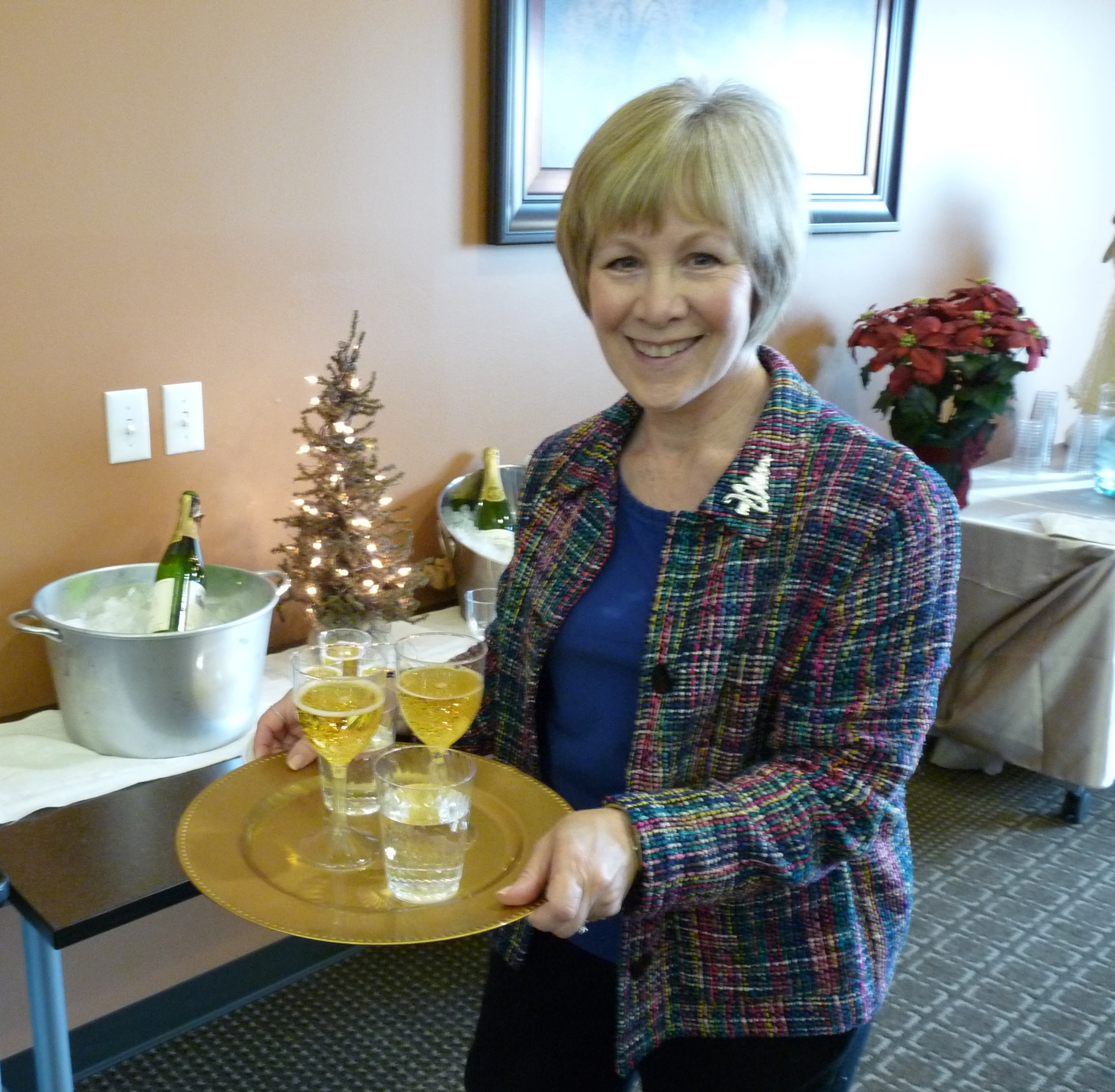 "Pat""doing the little extra special -Sparkling cider- serving the Salvation Army guests"