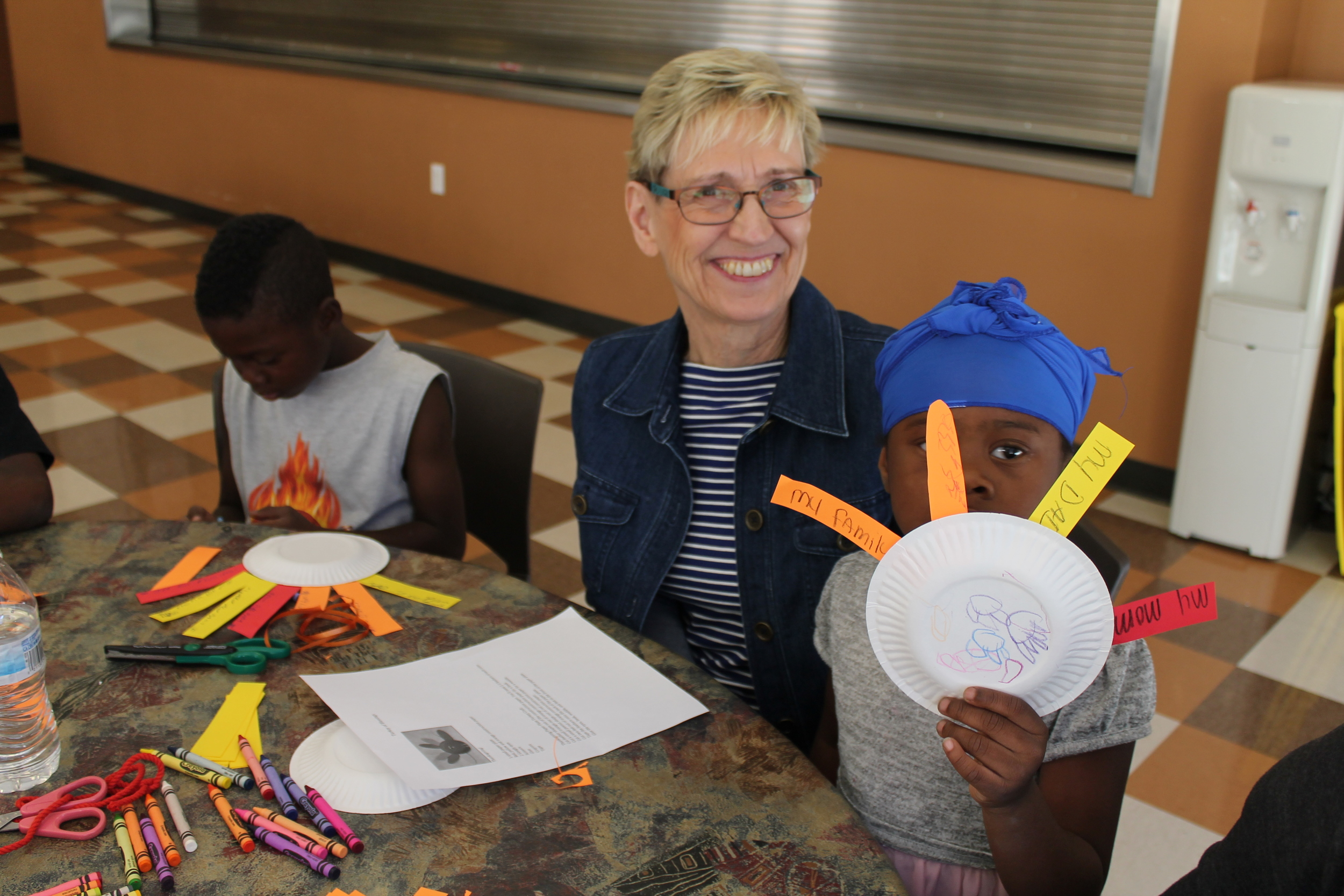 What thanks words would you write on your turkey feathers?  Marilyn Roelse gathered the craft and Major Martha Davey gathered the shelter families for an afternoon of being grateful for what God has provided.