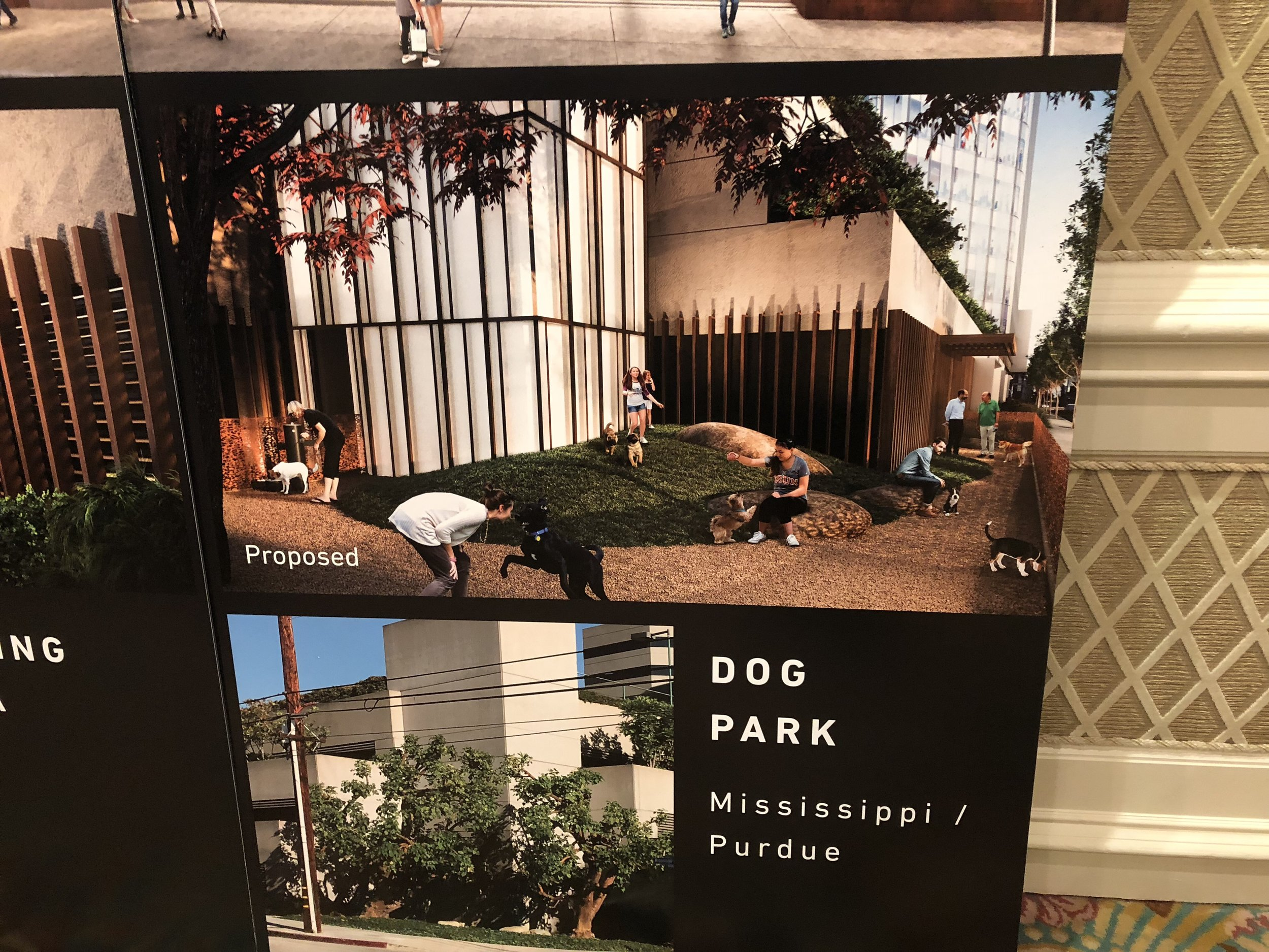 A dog park is a popular concept on the North West corner.