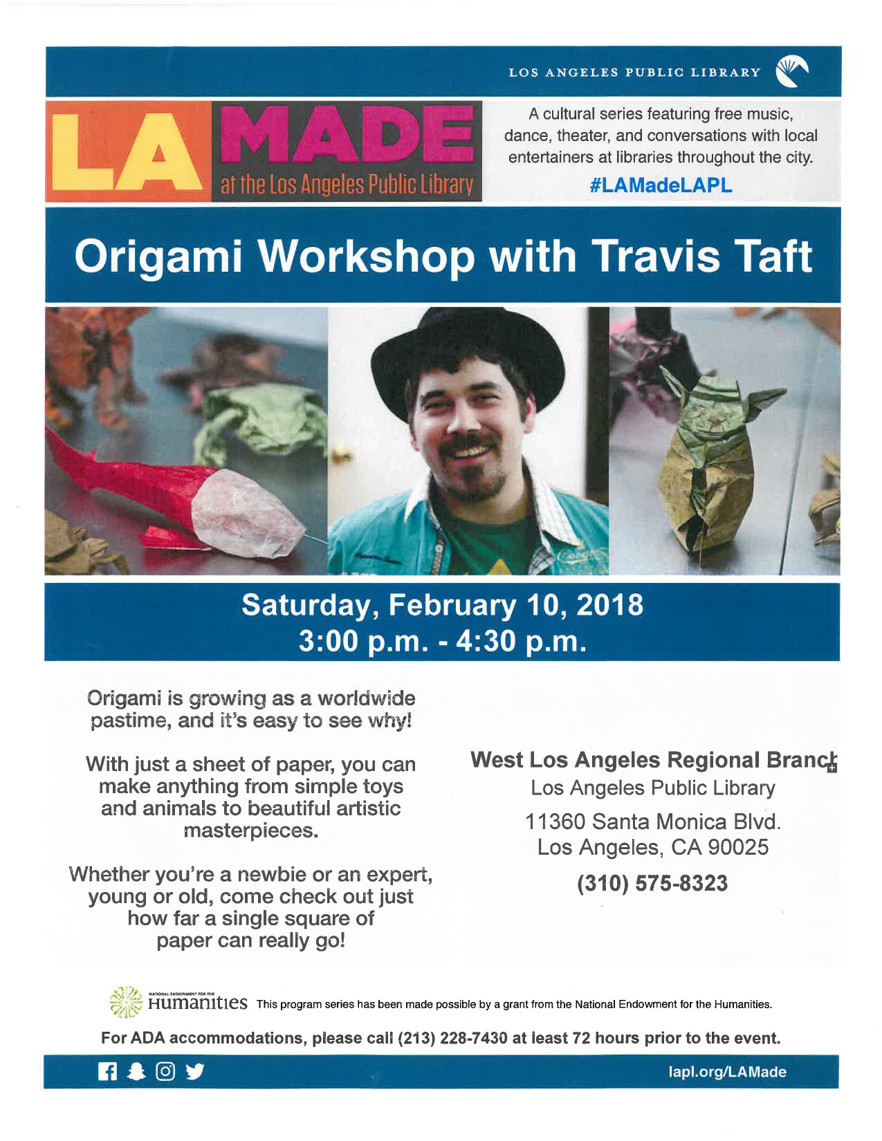 On Saturday, Feb. 10 from 3-4:30, Travis Taft will facilitate a FREE Origami Workshop at WLA Branch for an all-ages audience.