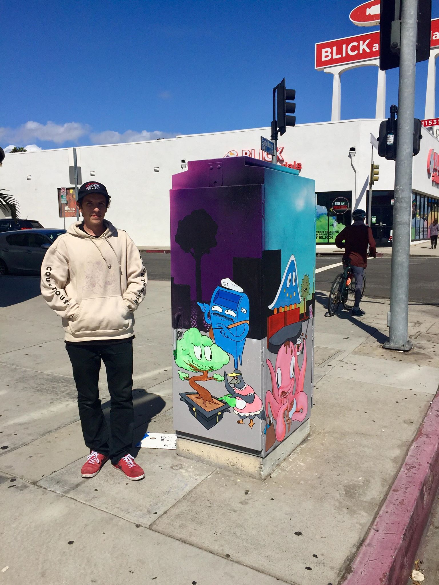This is Noah Malloy, a local who completed box #3 in West LA. His box tells the story of the area from his point of view. Notice the landmarks? Great work Noah. This is a joint project between WLASNC,Mike Bonin and the West LA Community Coalition. 7 More!