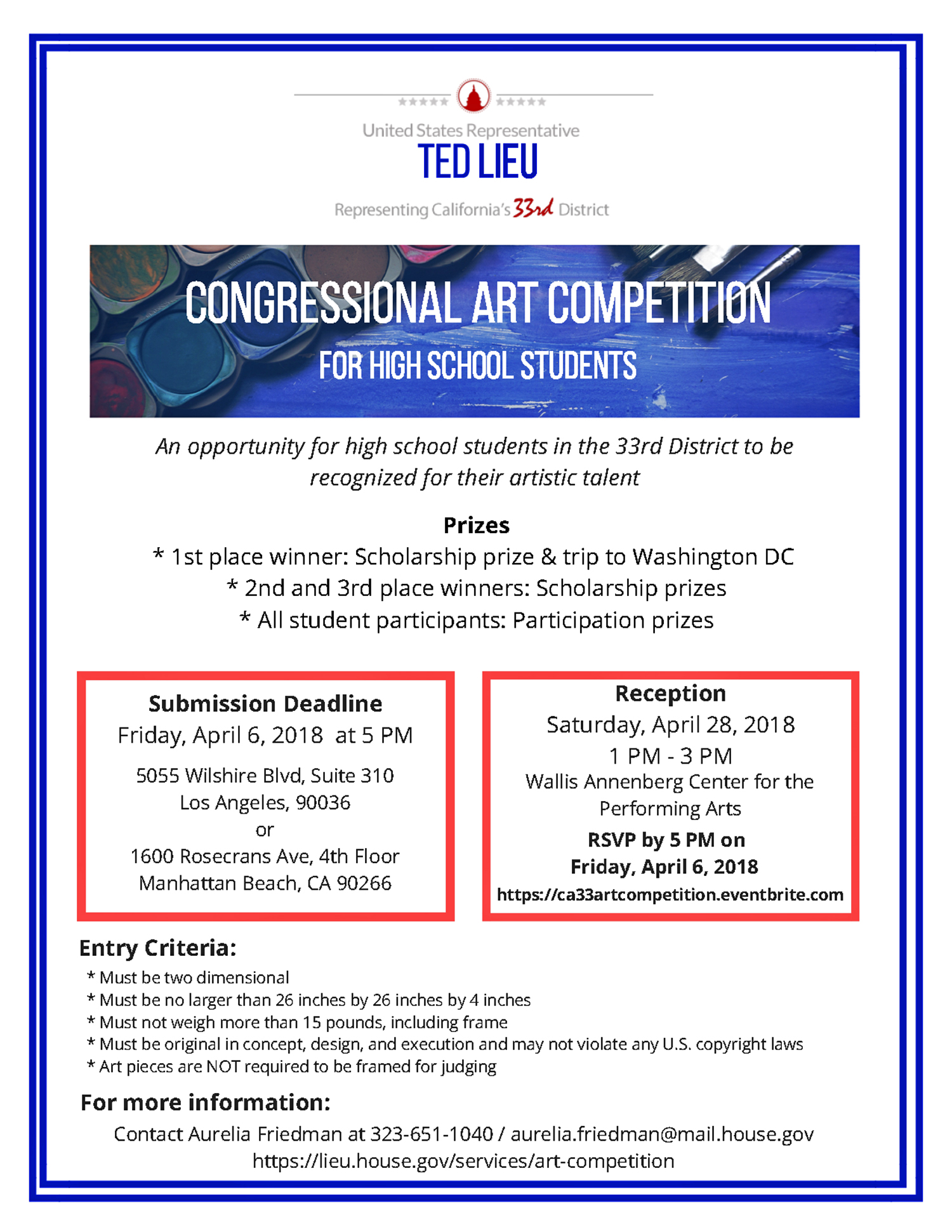 Enter the Congressional Art Competition for the 33rd