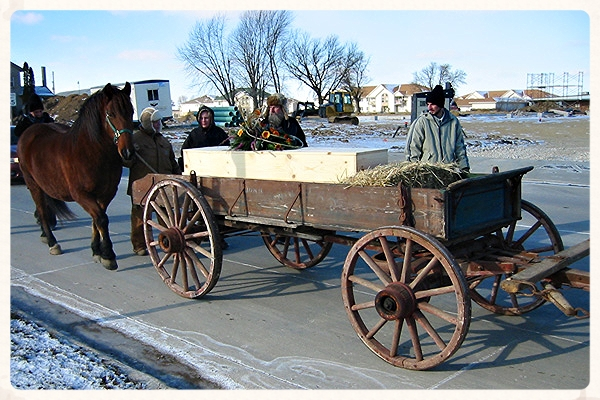 Honoring Grandpa on a cold winter day with a toe-pincher coffin inspired by the movies of the Old West.