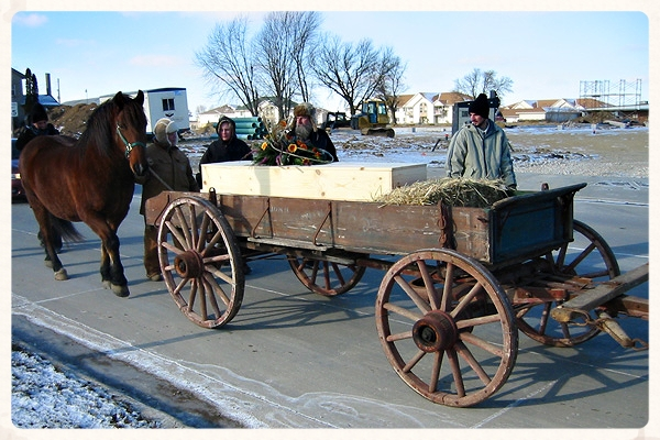 December 24, 2004 - Grandpa's coffin was taken from the church to the cemetery by horse and wagon.