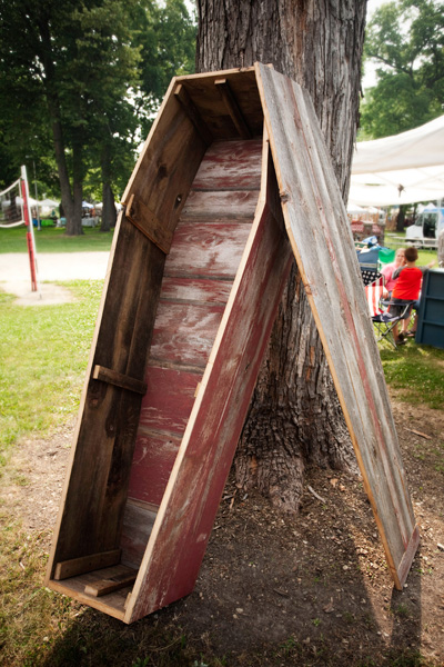 This coffin was made from reclaimed barn wood.