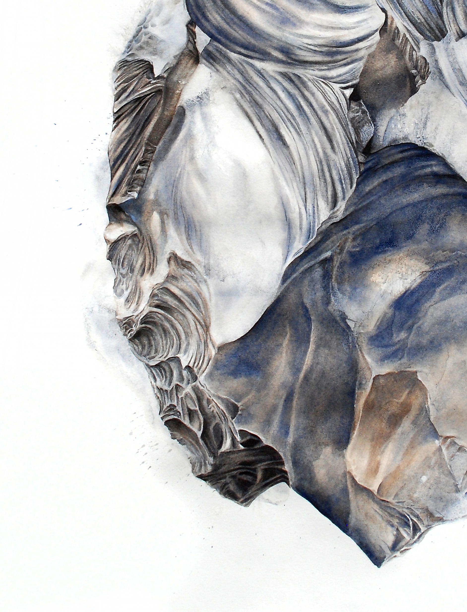 "Detail, ""Hermitage (Juana Maria),"" Watercolor and graphite on paper, 30 x 22"" 2016"