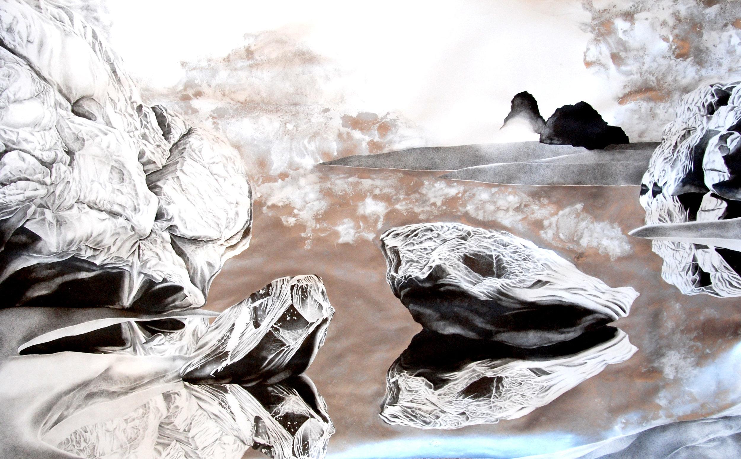"""""""Mercury,"""" Graphite, Liquid Graphite, and Silver Powder on Paper, 42"""" x 68"""" 2015"""