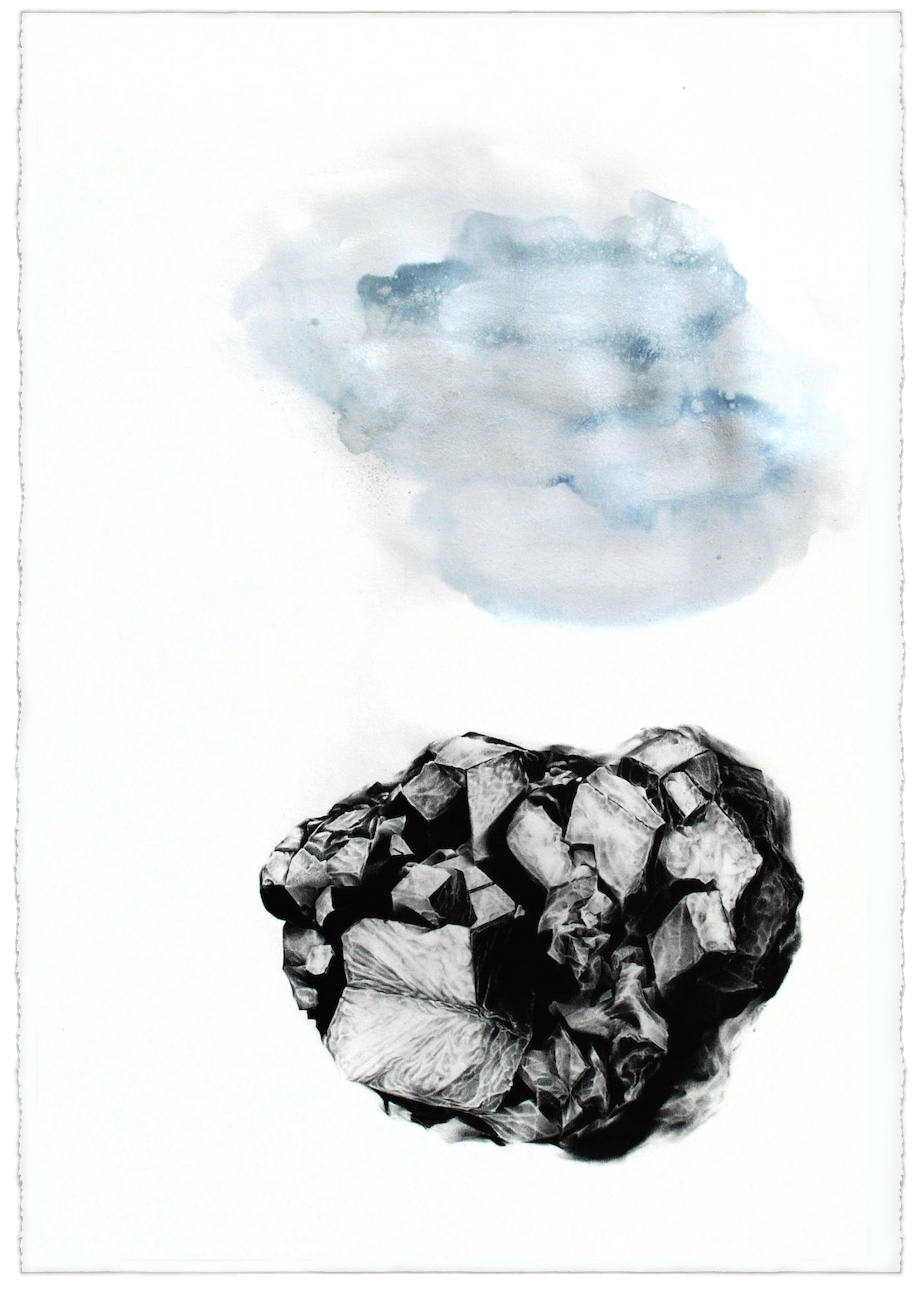 """"""" 37.6627° N, 118.7892° W (Hilltop),"""" Graphite and Watercolor on Paper, 44"""" x 30"""" 2016"""