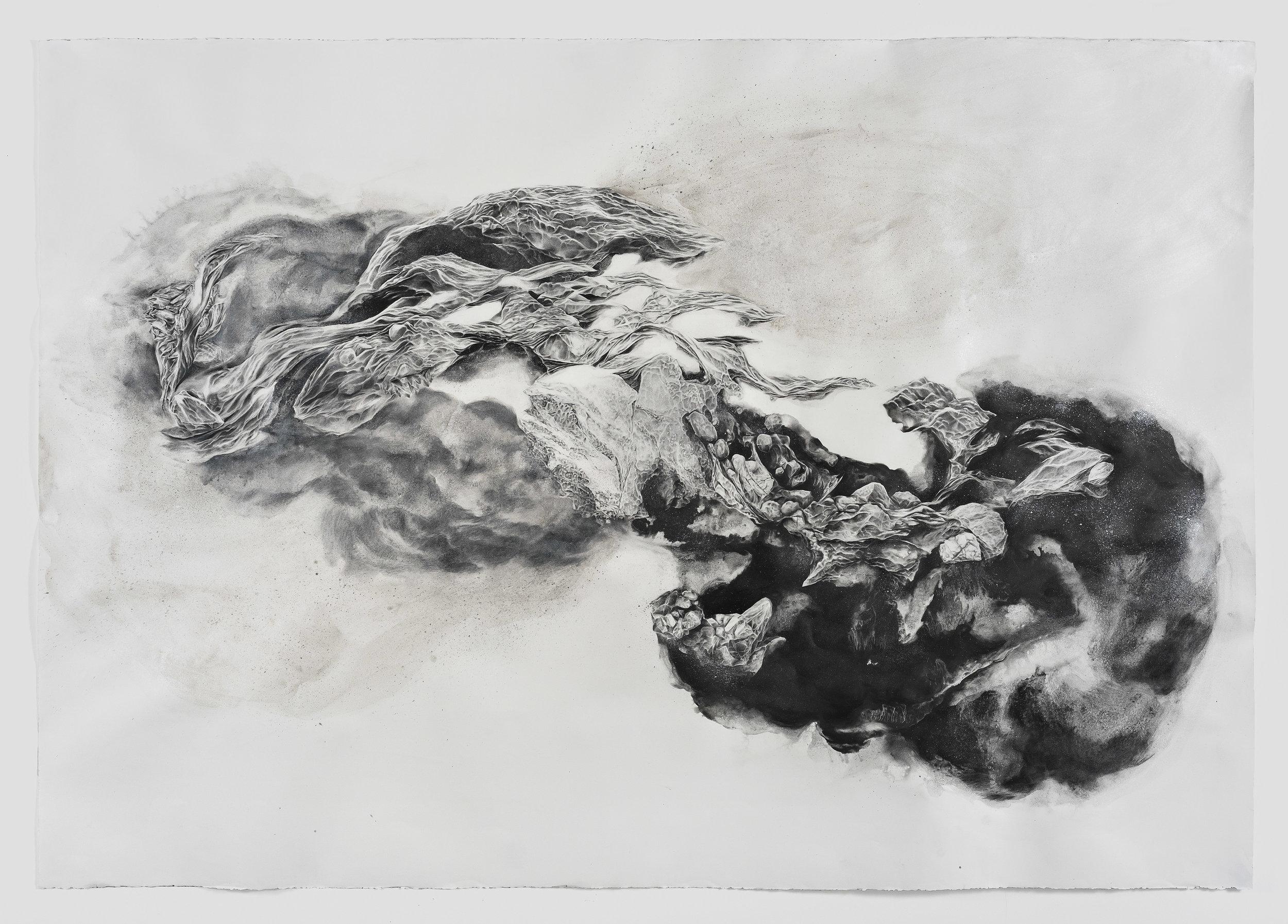 """""""Dust to Dust,"""" graphite, liquid graphite, metallic sumi ink, 48"""" x 65"""" 2017"""