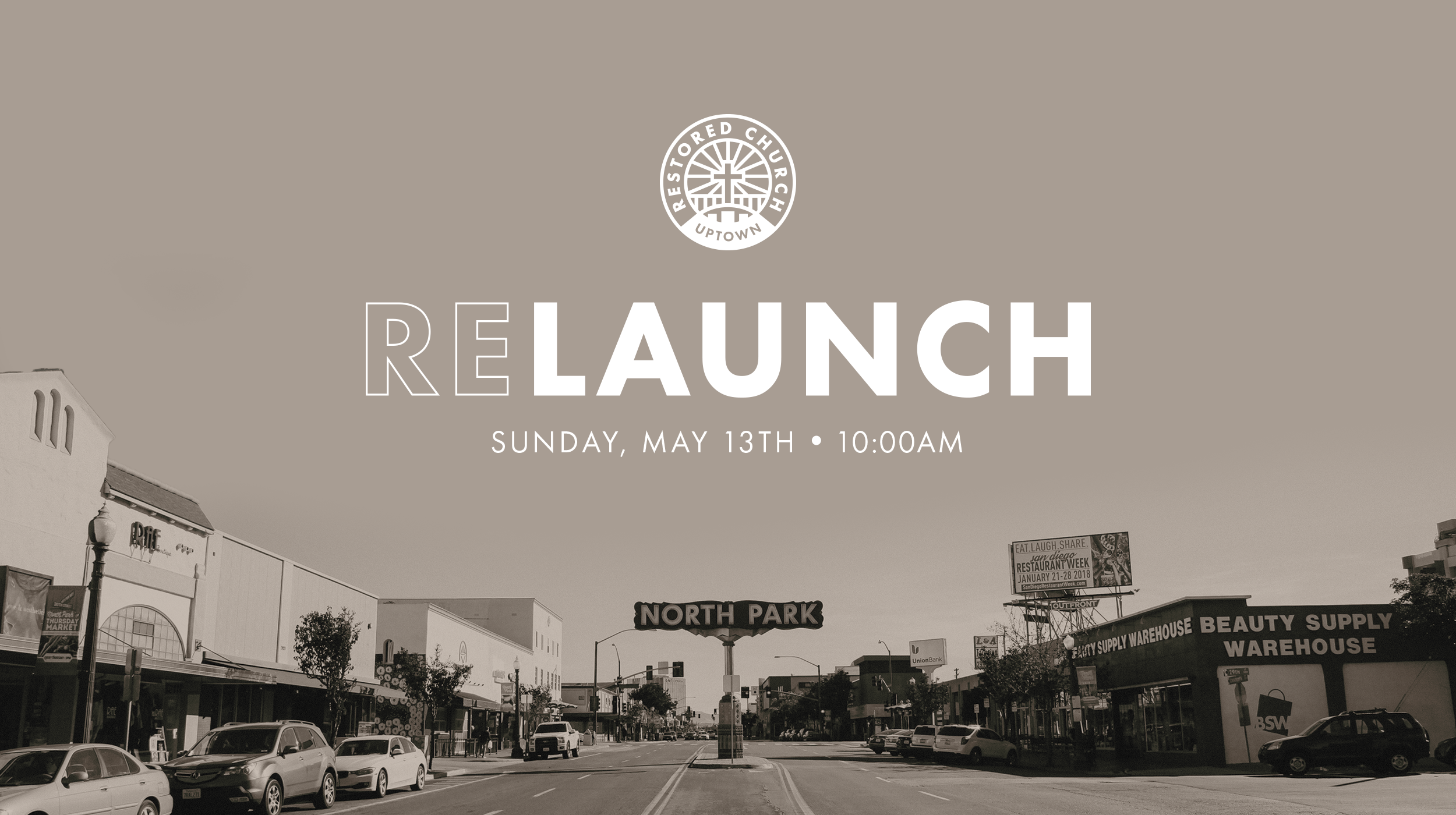 Join us on Sunday, May 13th at 10am at Jefferson Elementary in North Park for our relaunch! Also, check out to our prayer meeting at 9am if you can!