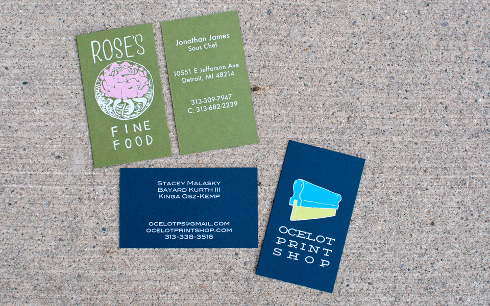 Business cards for Rose's Fine Food & Ocelot Print Shop