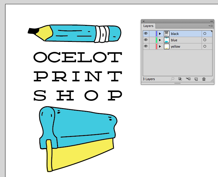 3-color Artwork in illustrator with each color in its own layer.