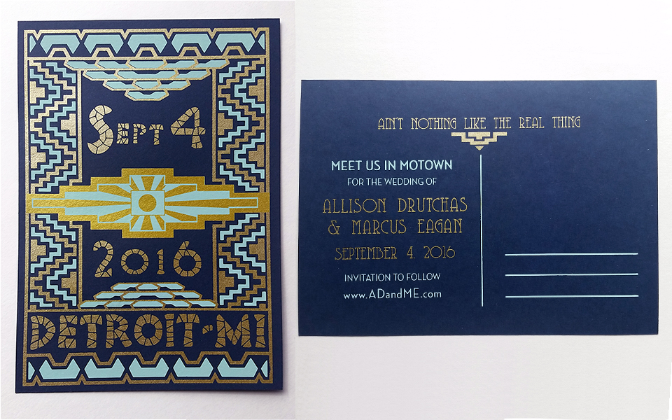 Two color Save the Date postcard inspired by the Guardian Building, front and back