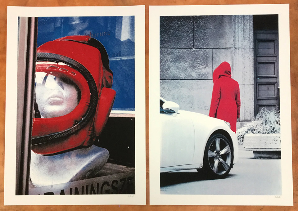 Two of Gabriel's screen printed photographs