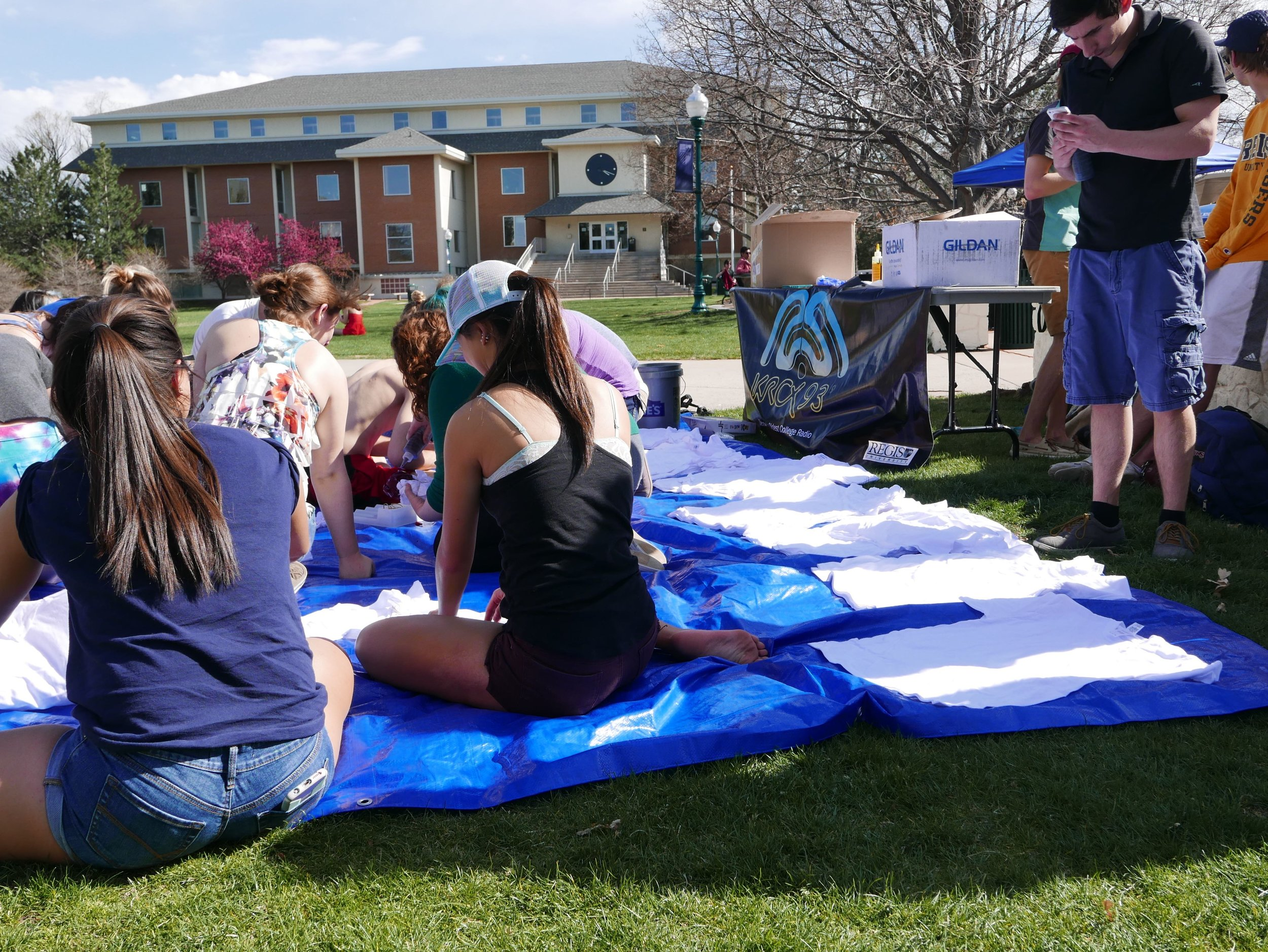 Partnering with RUSGA's Sustainability Committee, KRCX hosted it's annual Tie Dye Day during Dead Week Spring 2016. Photo Credit: Natalie Doggett