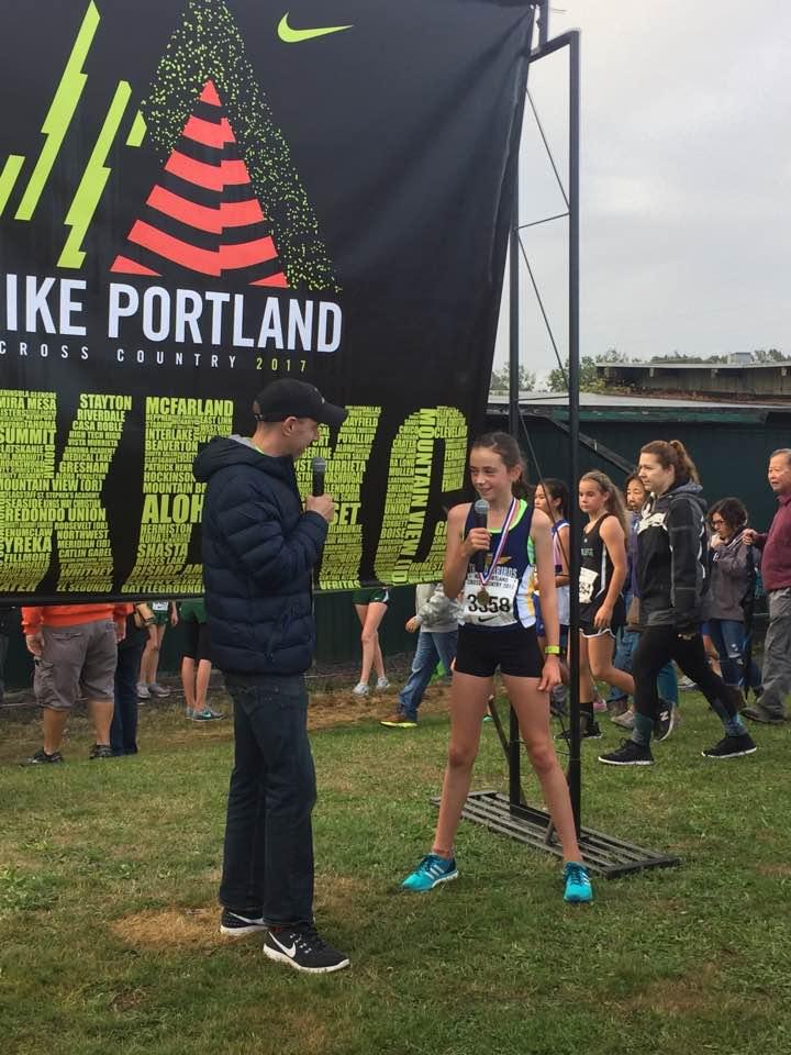 American 1 mile record holder (3:46.91), Alan Webb,interviews Thunderbird XC Star, Maya Baechler after winning the 3km XC Nike Pre-Nationals Race in Portland, Oregon.