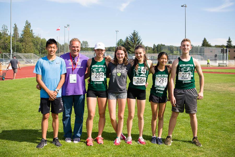 From left to right: Thunderbird Athletes Terence Cheung, coach Don Allemeersch, Noelle Yau, Ella Symon, Skye Higgins, Caroline Ho, Matthew Uliana.