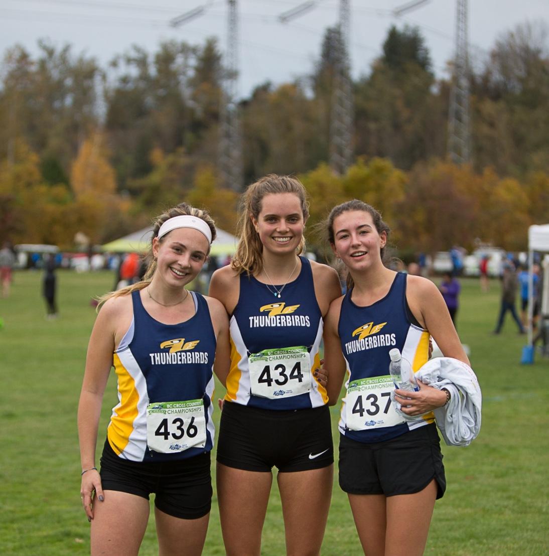 Thunderbird Intermediate Endurance Athletes: Olivia Uliana, Emily MacGowan, and Taylor Williams.